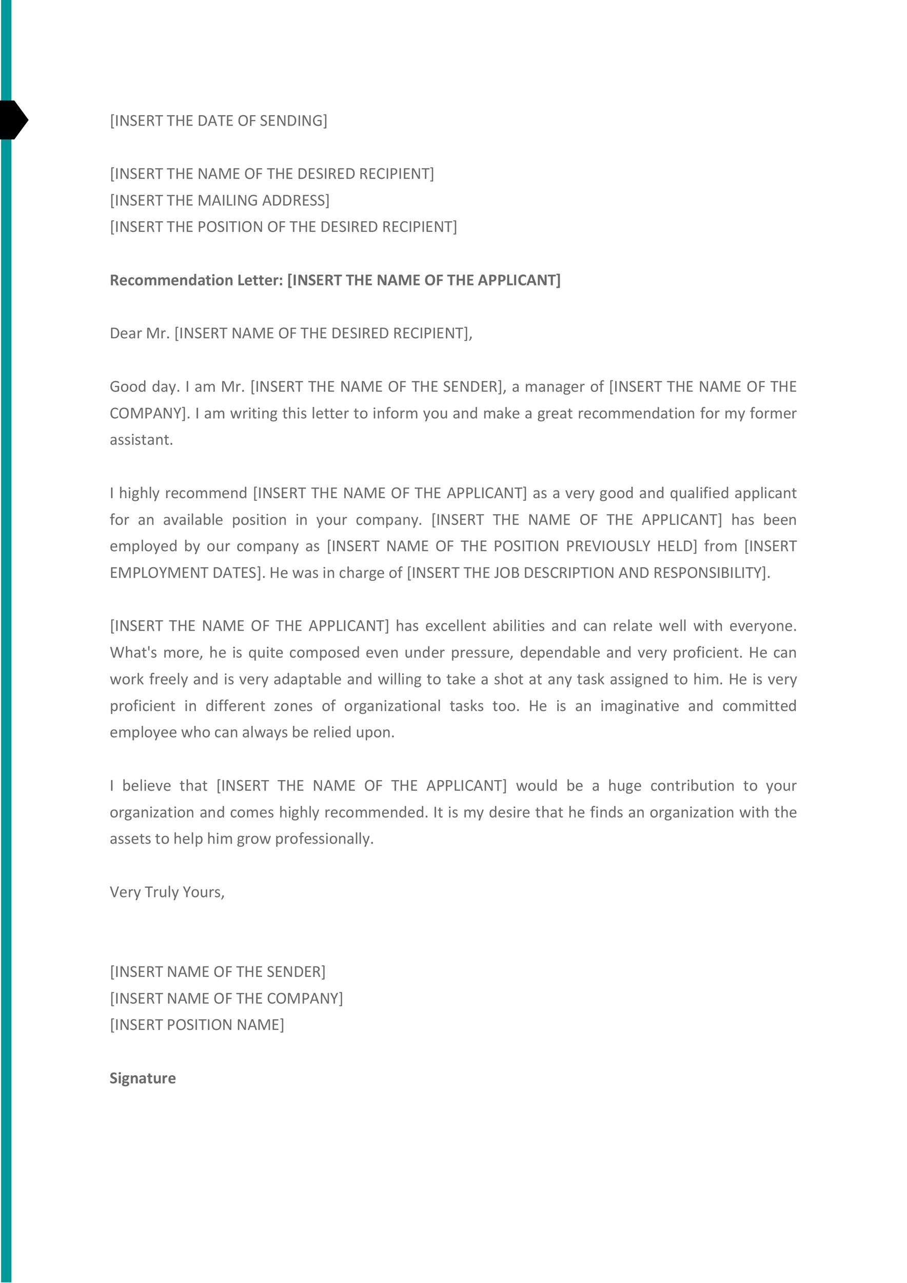 Free Recommendation Letter From Manager Template 44