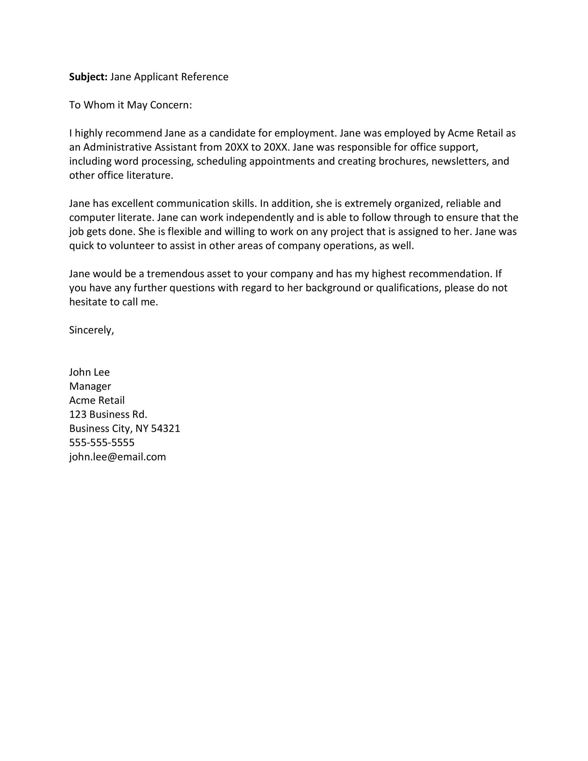 Free Recommendation Letter From Manager Template 46