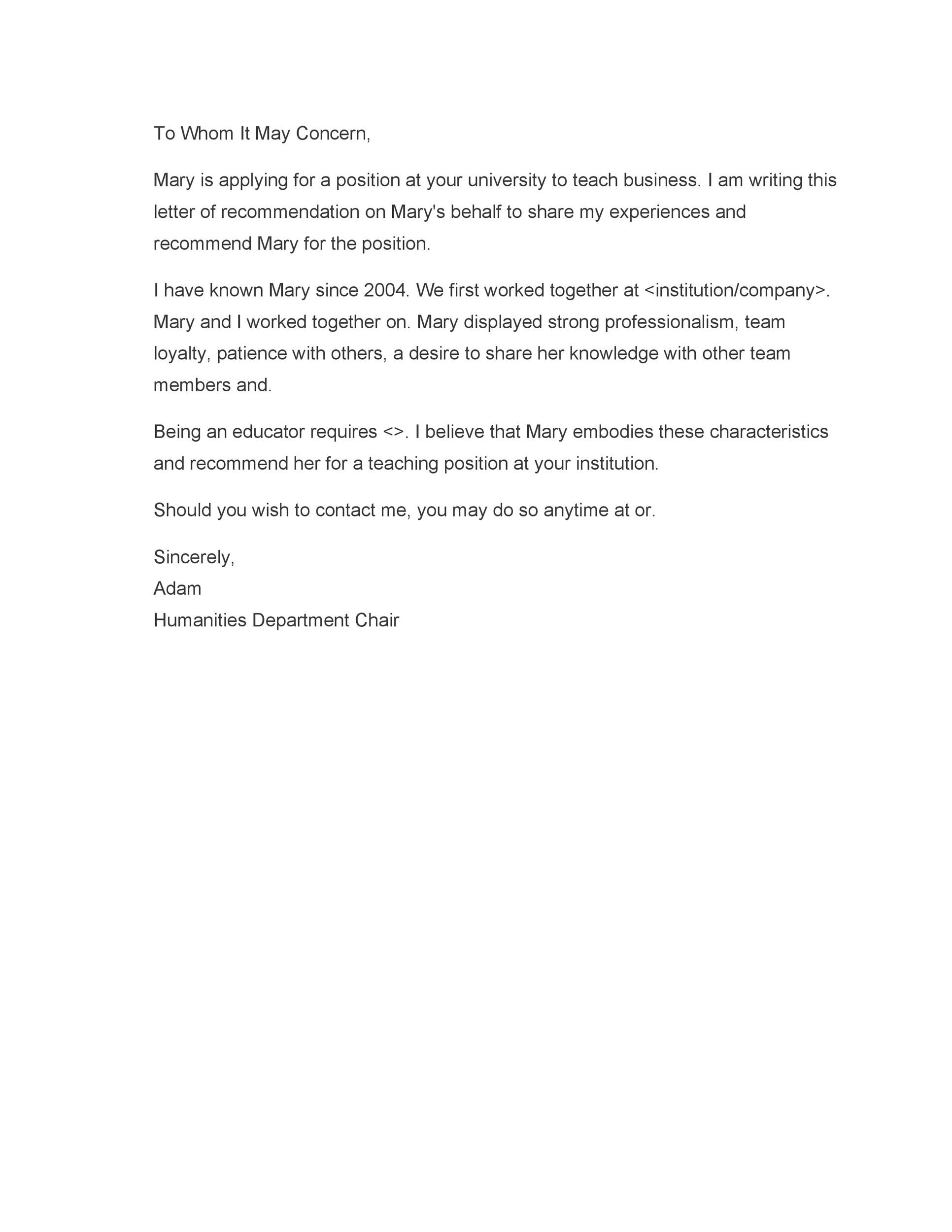 Free Recommendation Letter From Manager Template 50