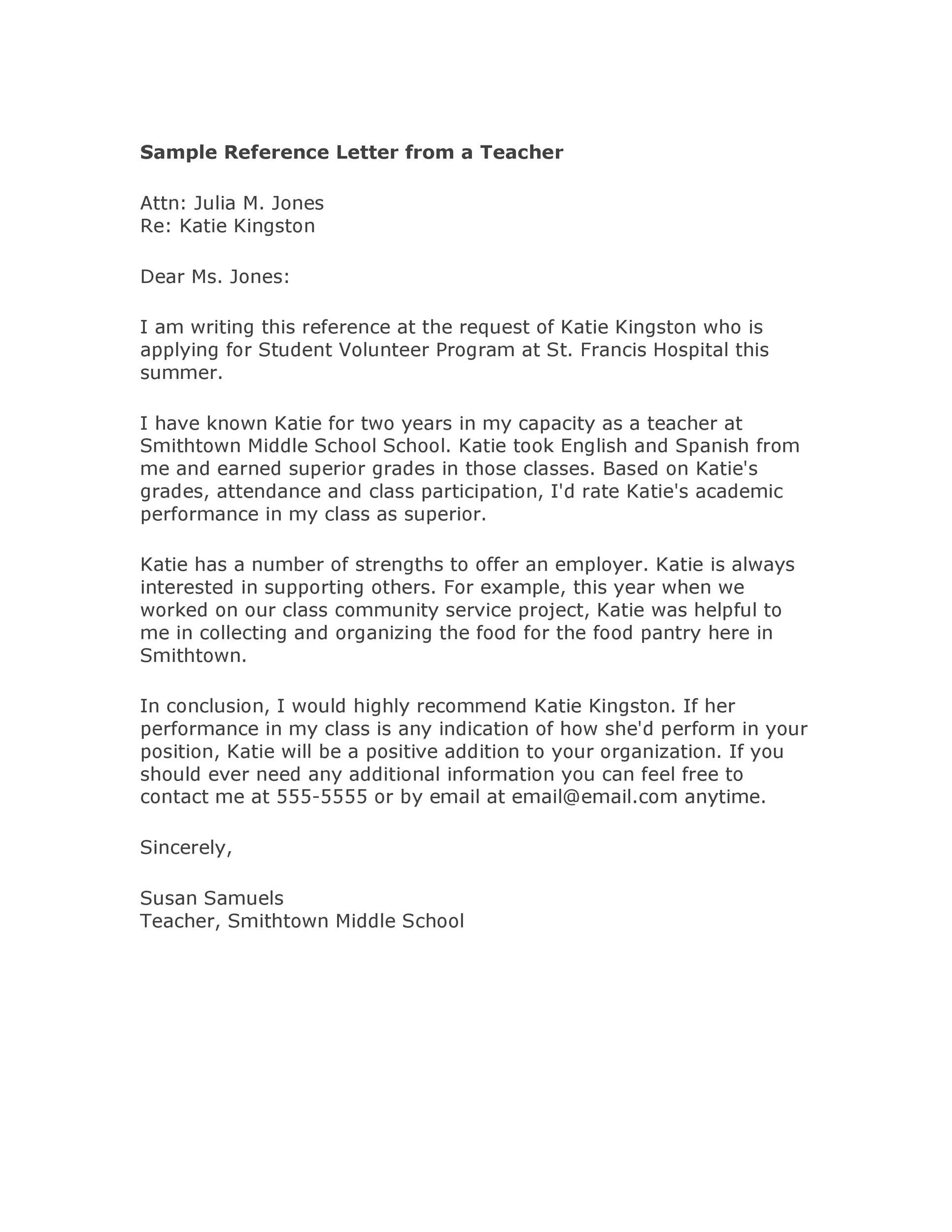 Free Recommendation Letter From Teacher Template 01