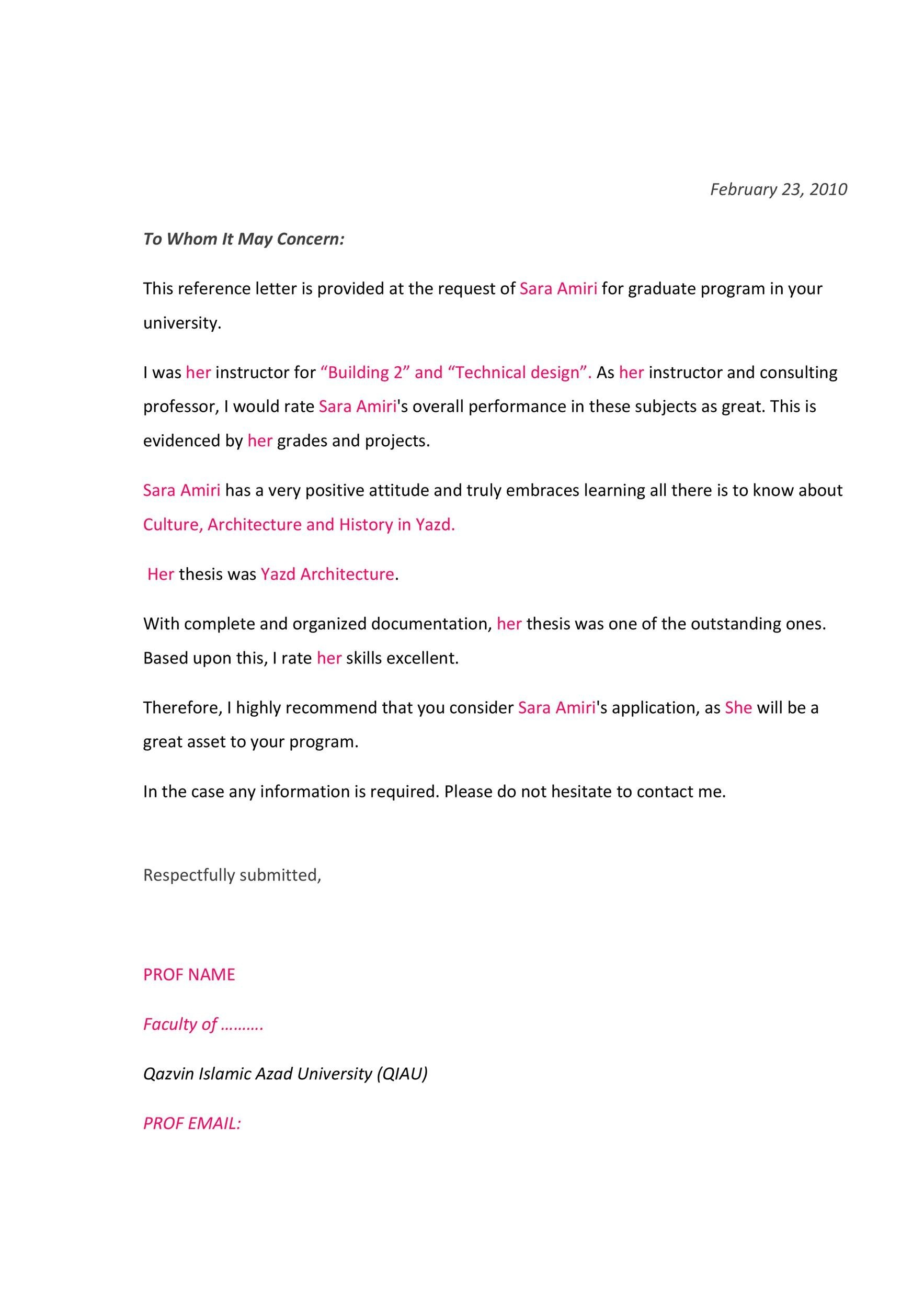 Free Recommendation Letter From Teacher Template 03
