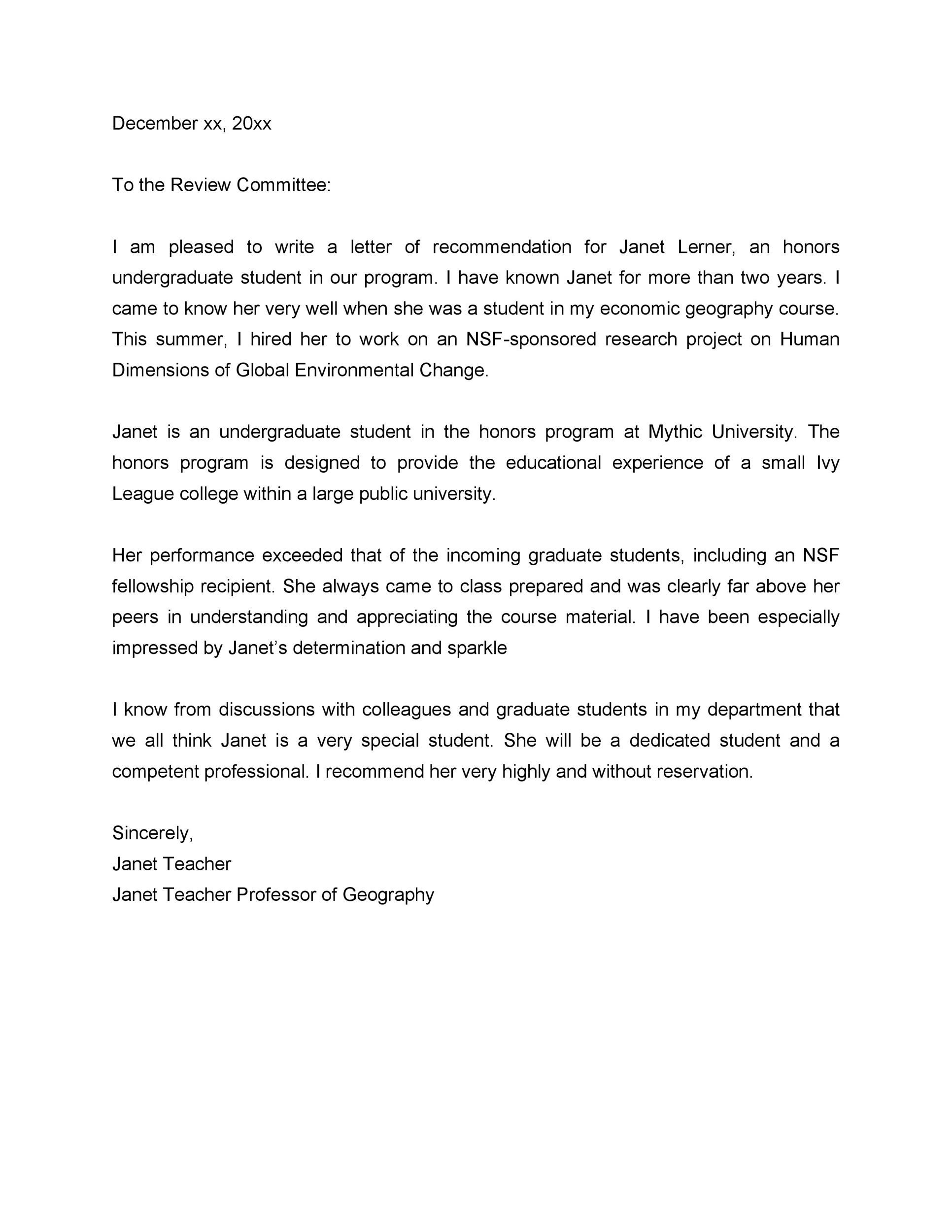 letter of recommendation for student from teacher