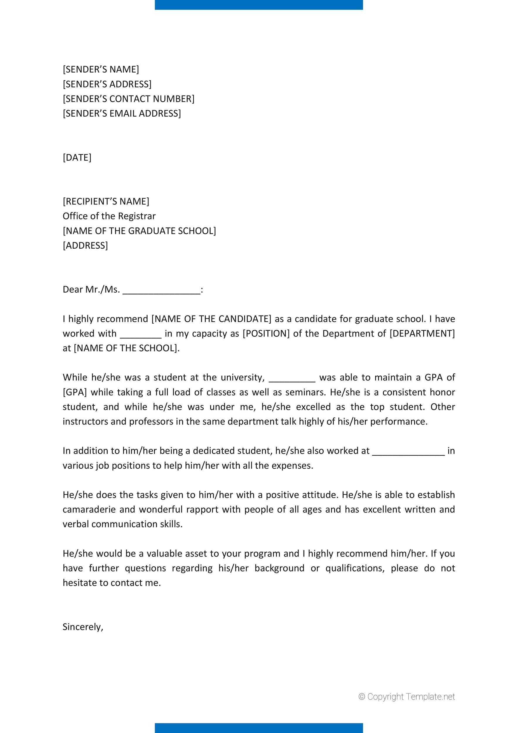 Free Recommendation Letter From Teacher Template 07