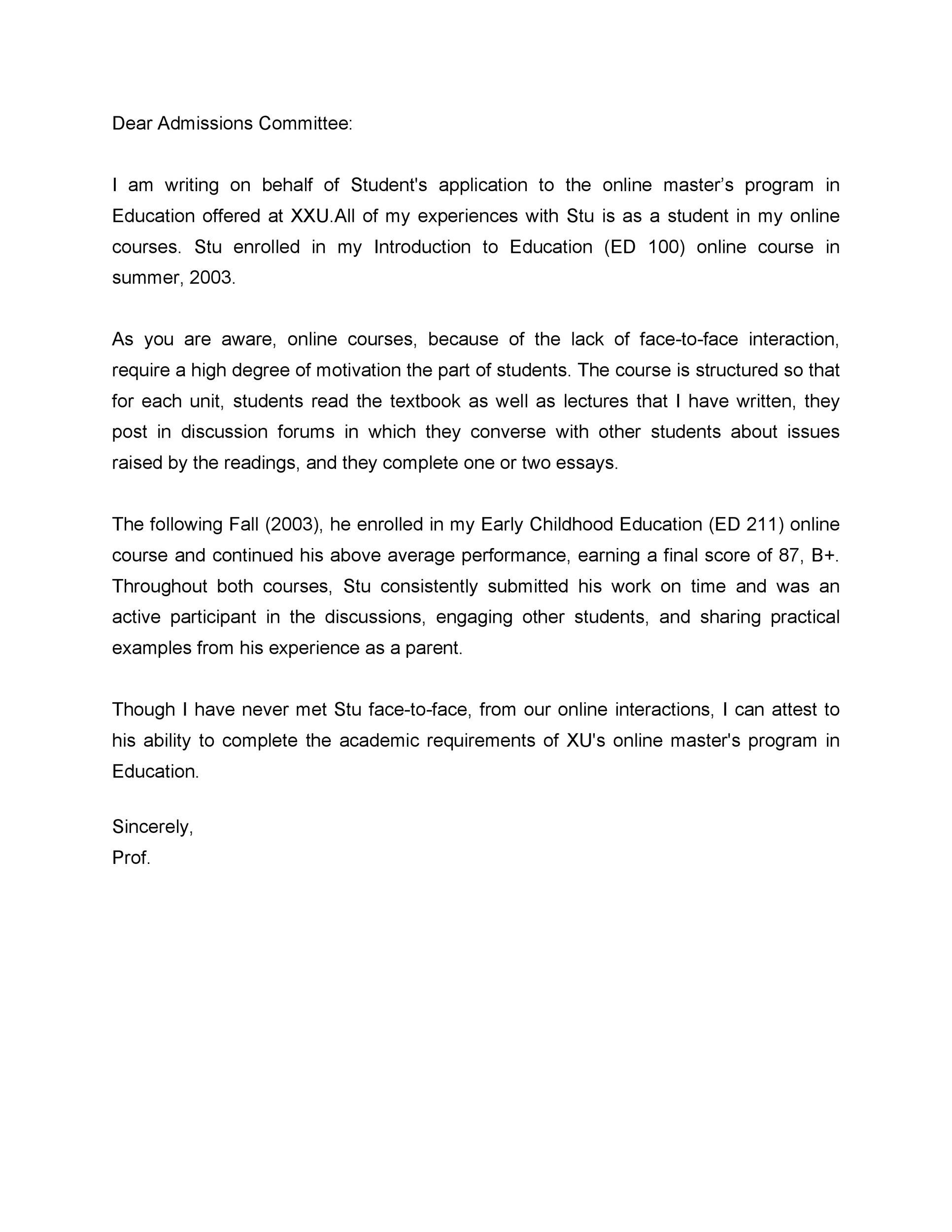 Free Recommendation Letter From Teacher Template 08