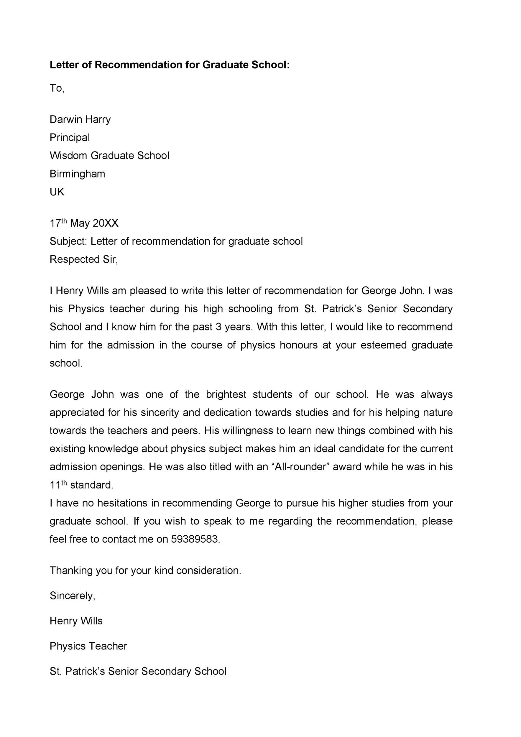 Free Recommendation Letter From Teacher Template 12
