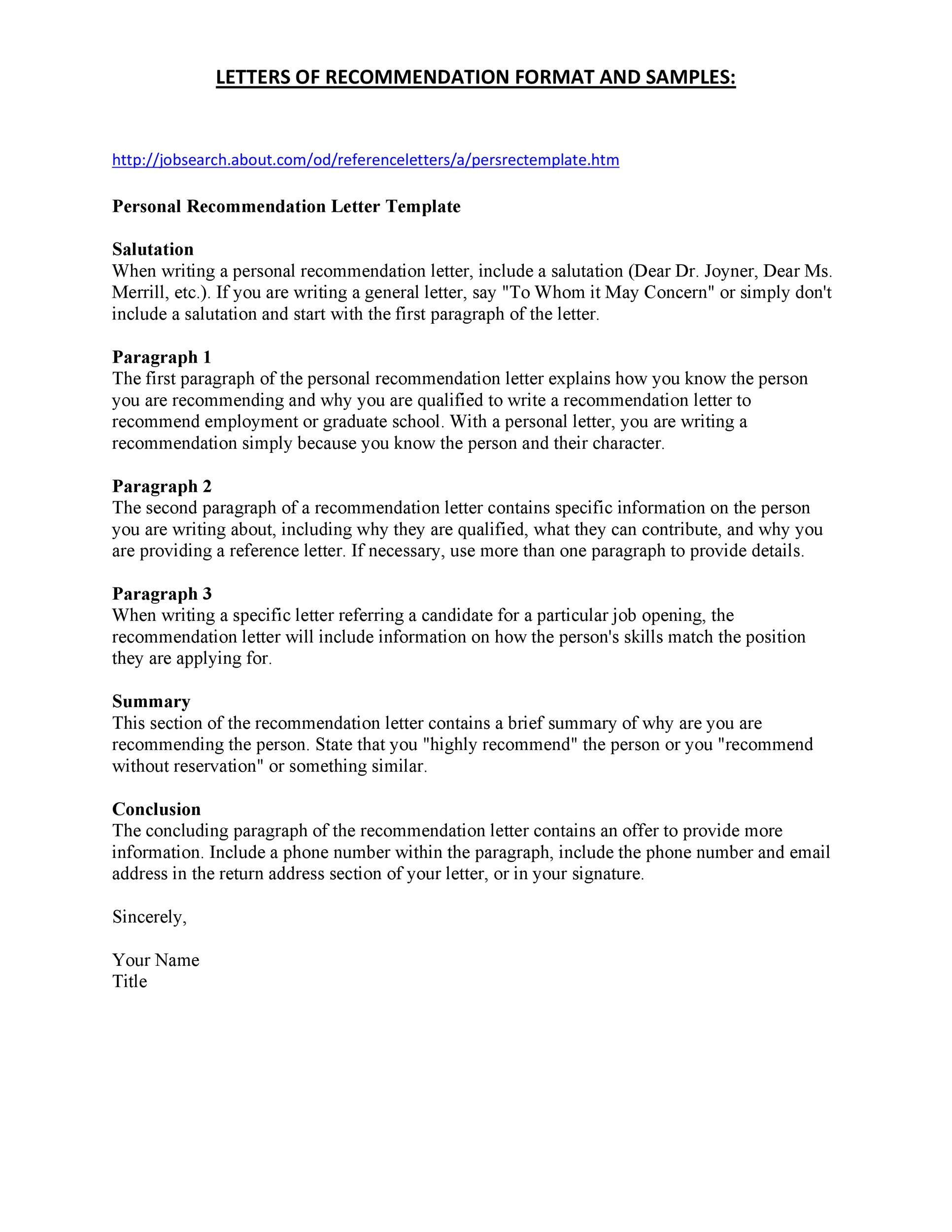 Free Recommendation Letter From Teacher Template 15