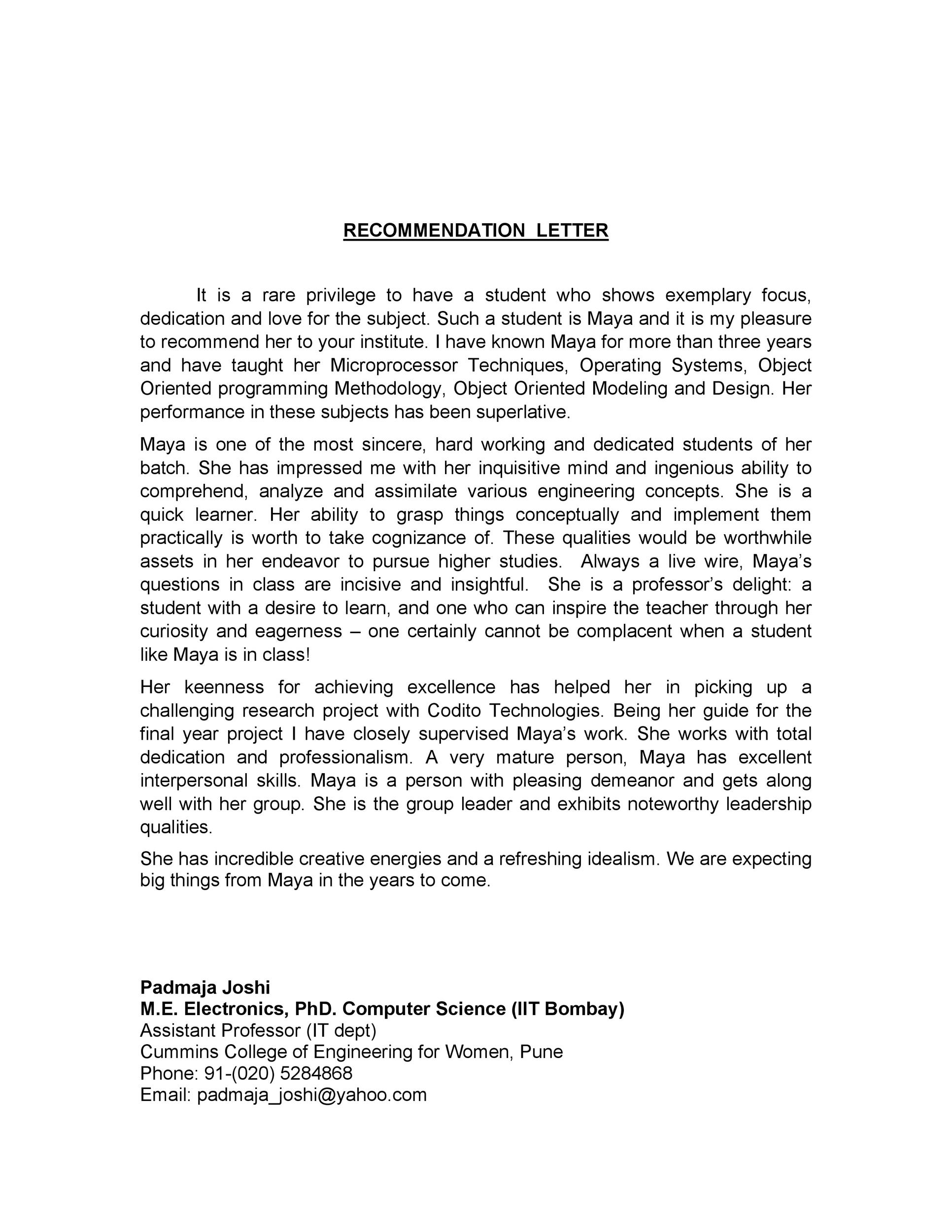 Free Recommendation Letter From Teacher Template 16