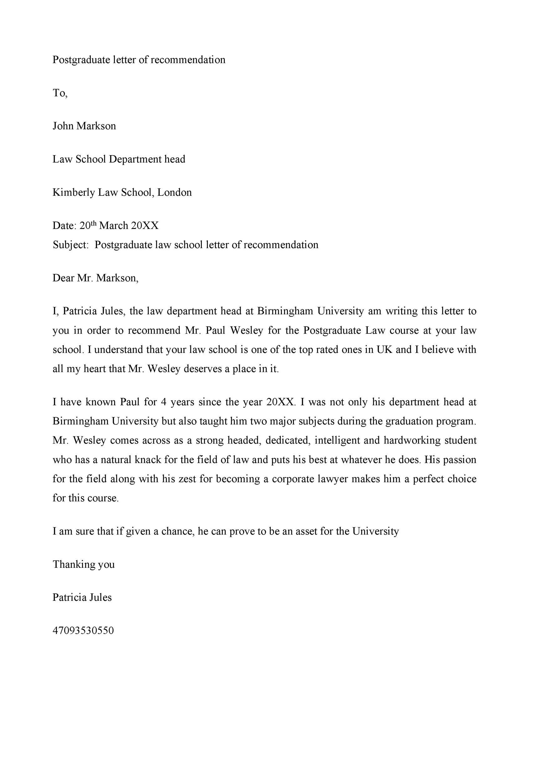 Free Recommendation Letter From Teacher Template 17