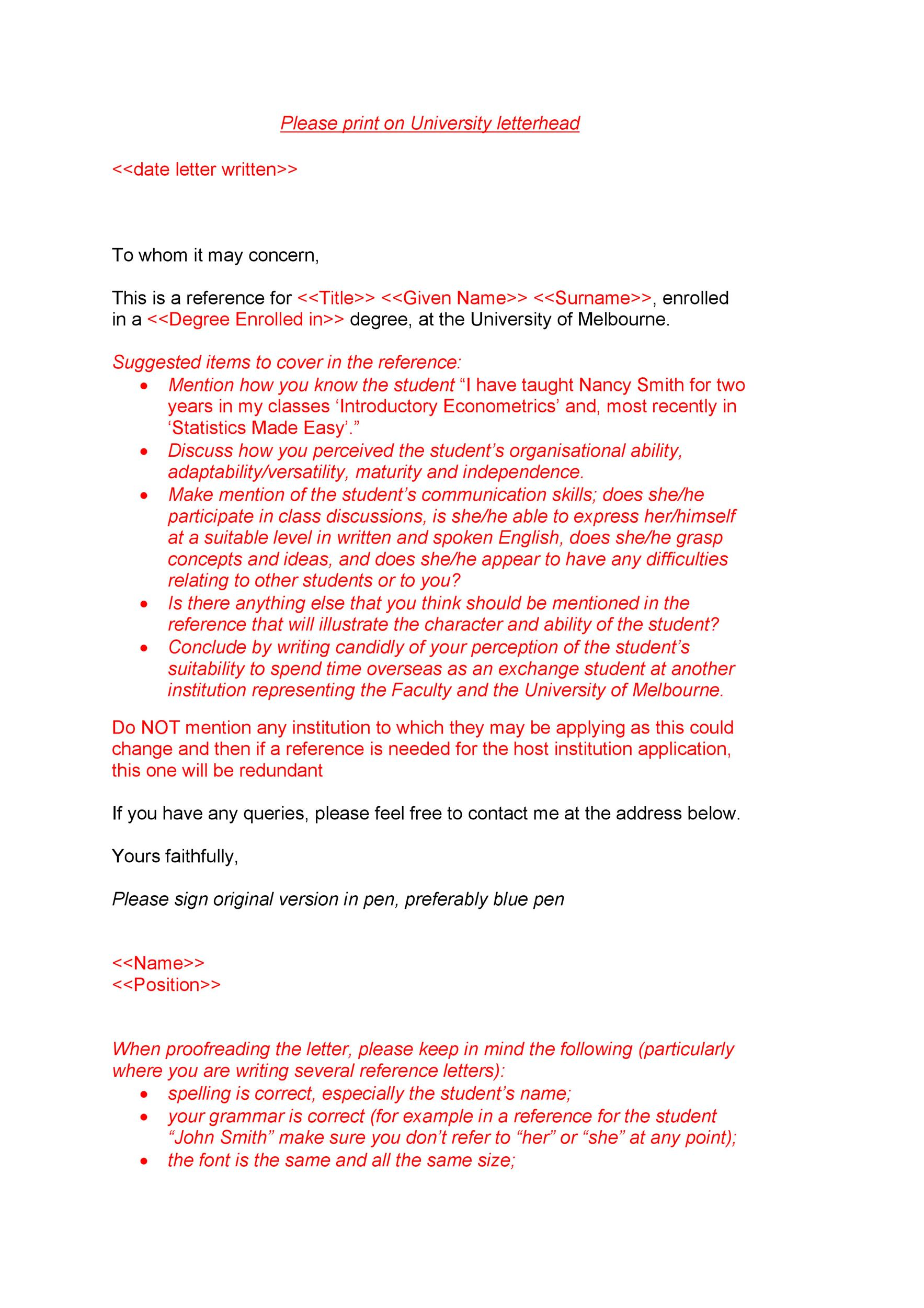 Free Recommendation Letter From Teacher Template 21