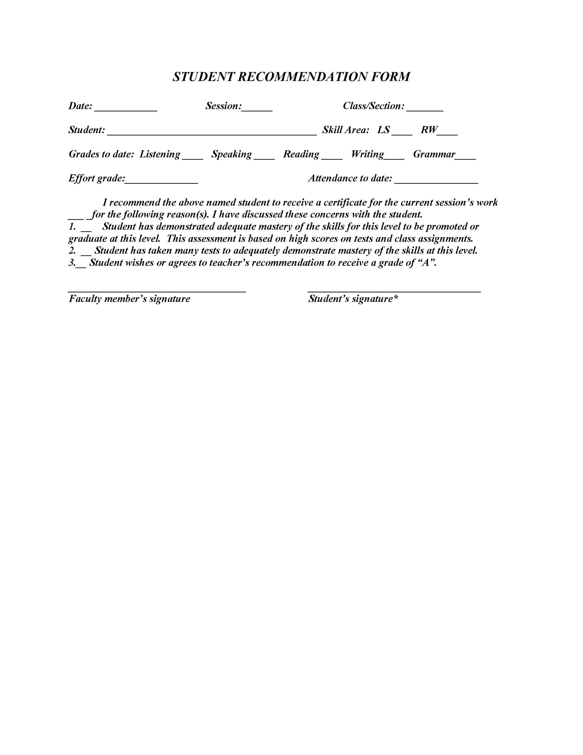 Free Recommendation Letter From Teacher Template 22