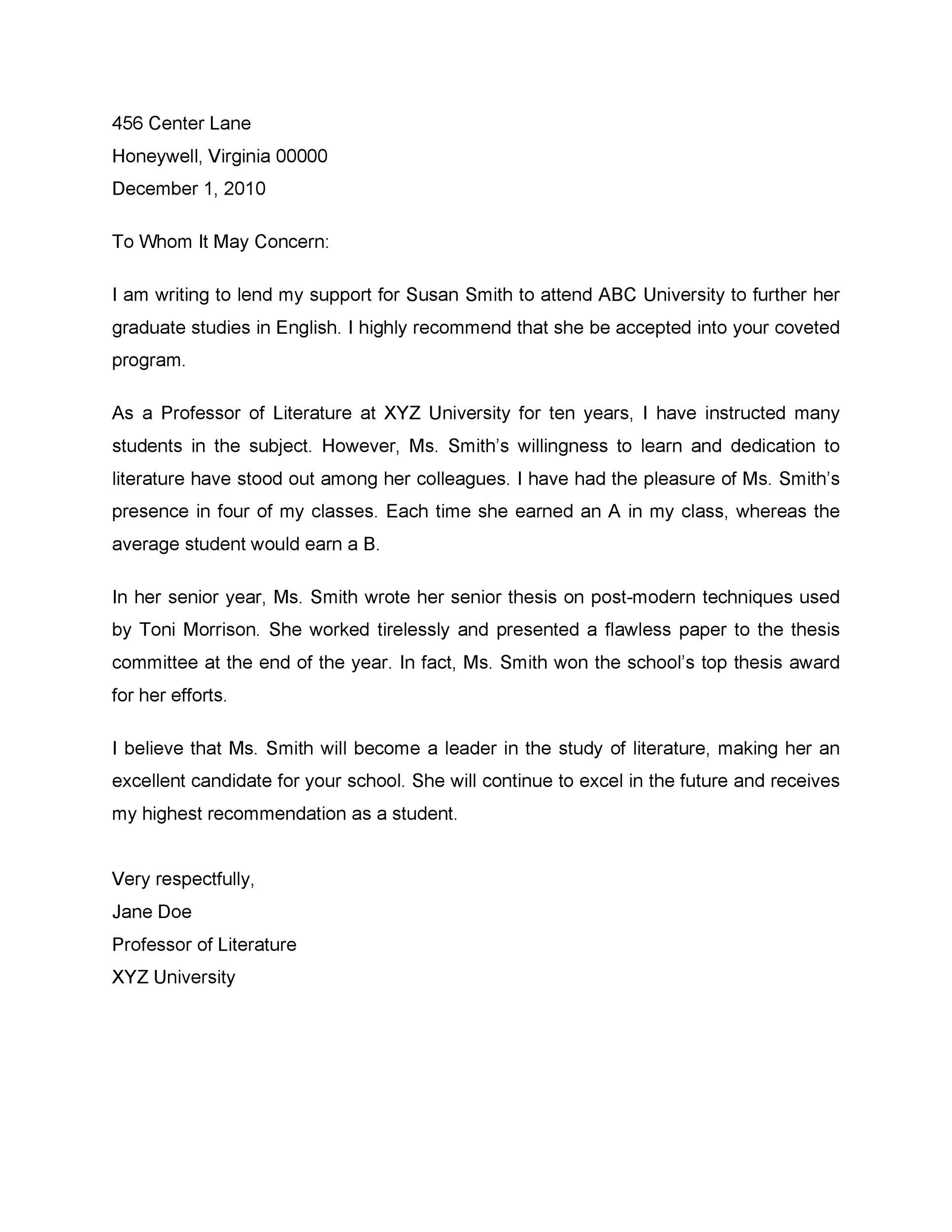 Free Recommendation Letter From Teacher Template 23