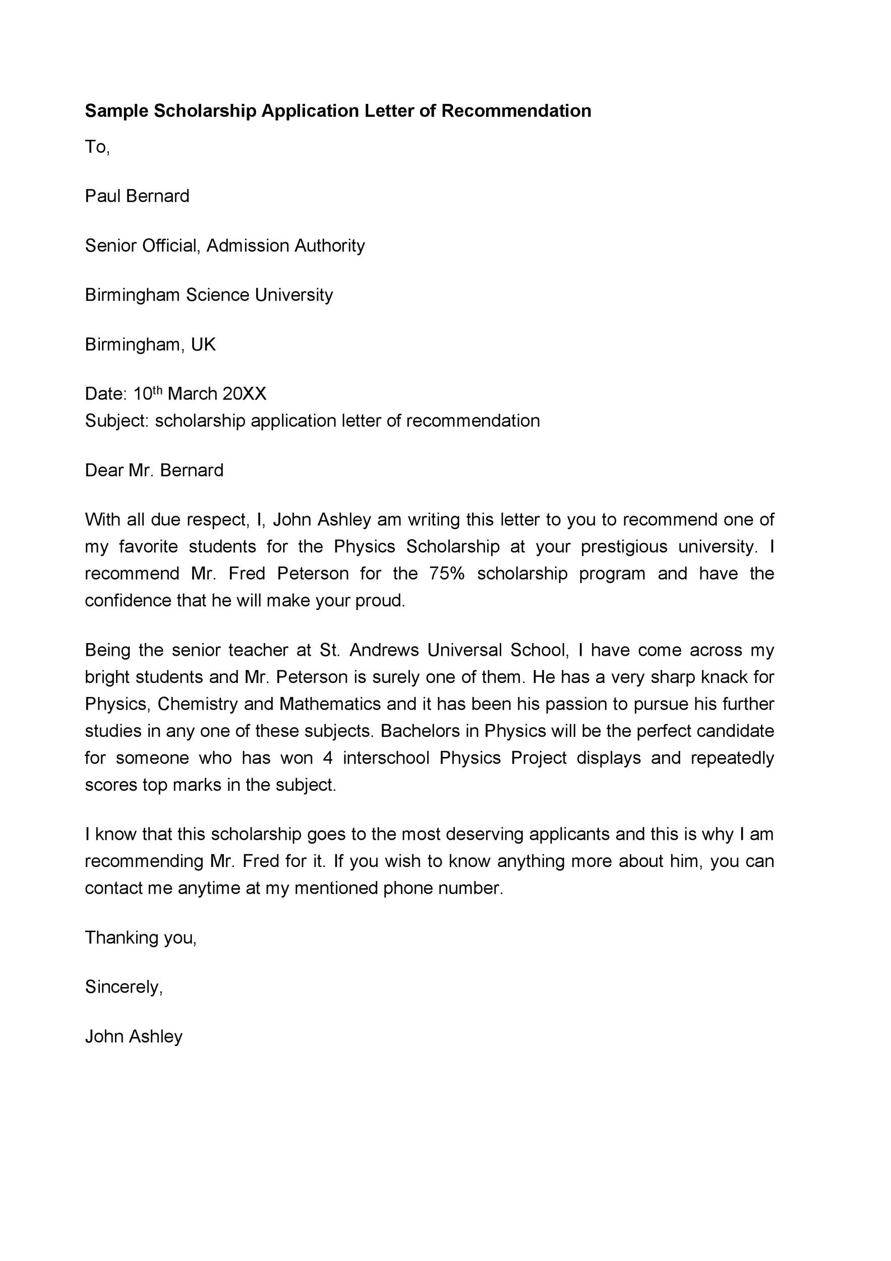Free Recommendation Letter From Teacher Template 25