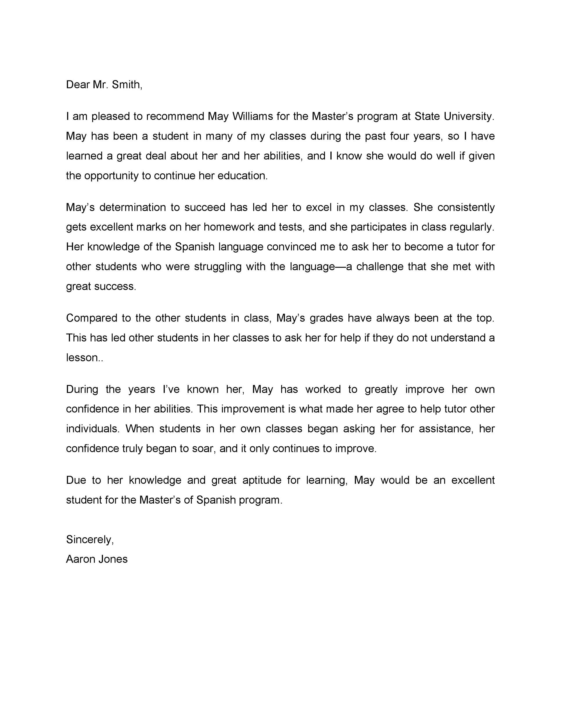Free Recommendation Letter From Teacher Template 26