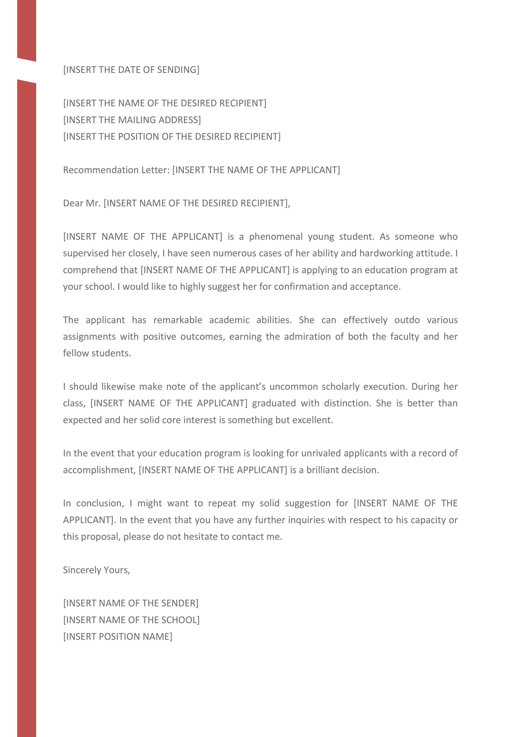 Free Recommendation Letter From Teacher Template 27