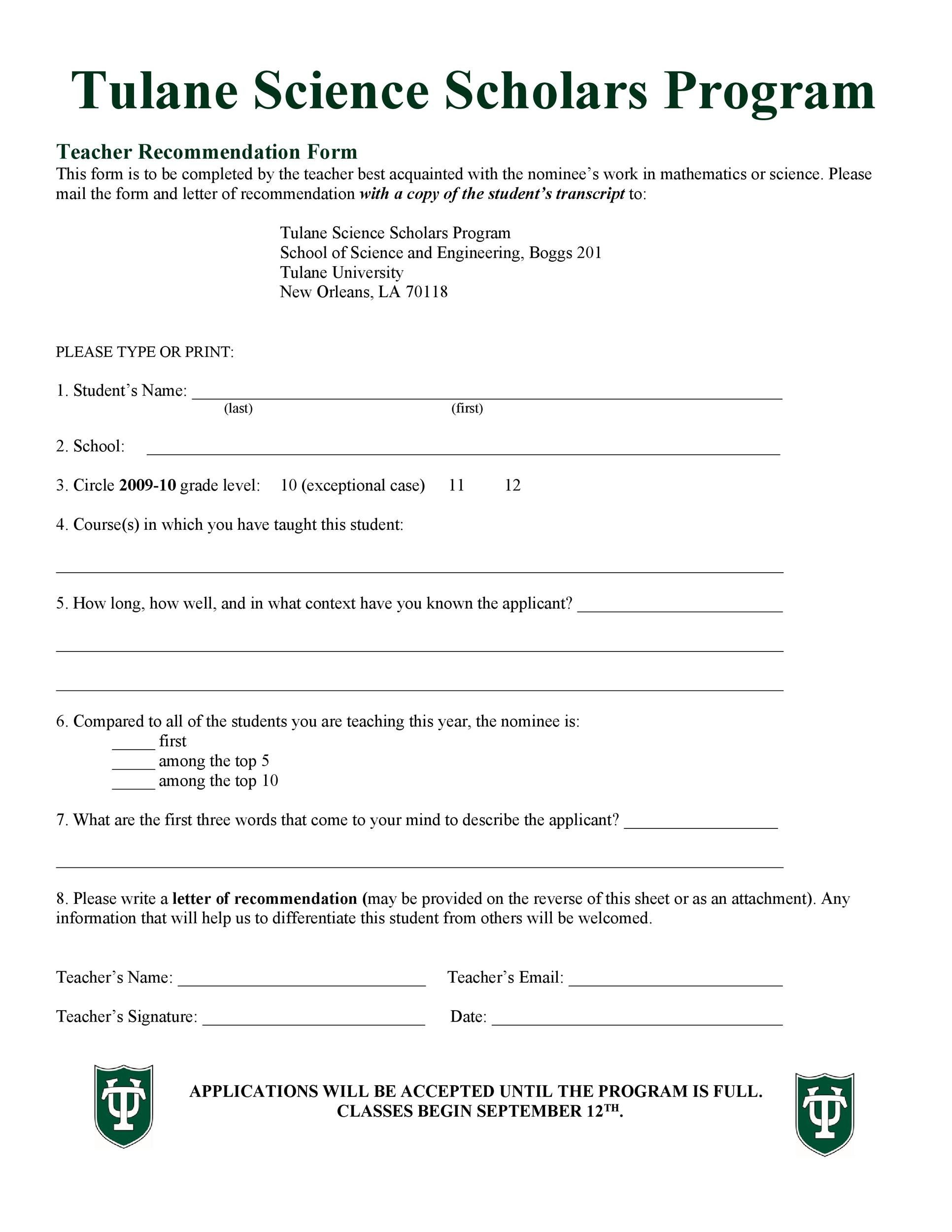 Free Recommendation Letter From Teacher Template 28