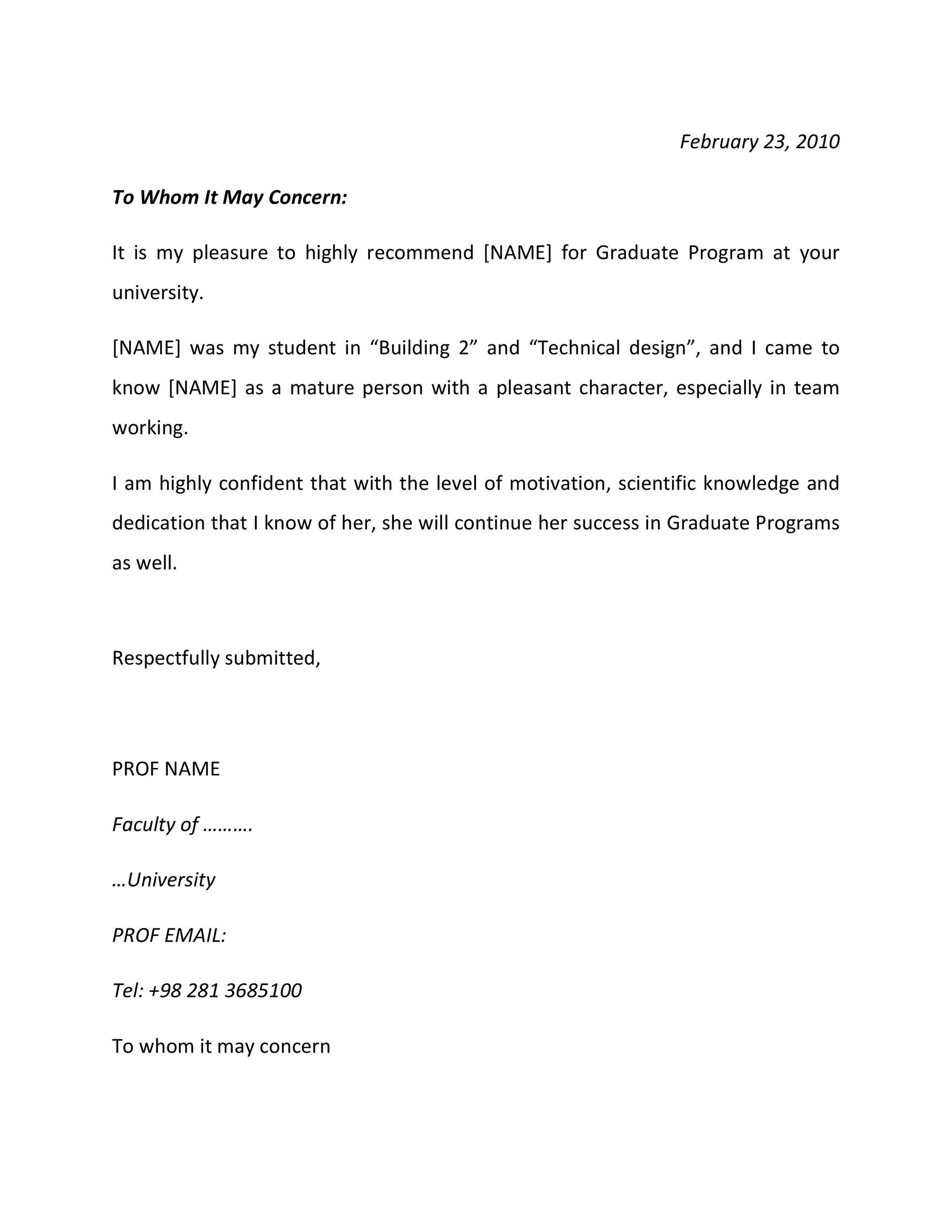 Free Recommendation Letter From Teacher Template 30