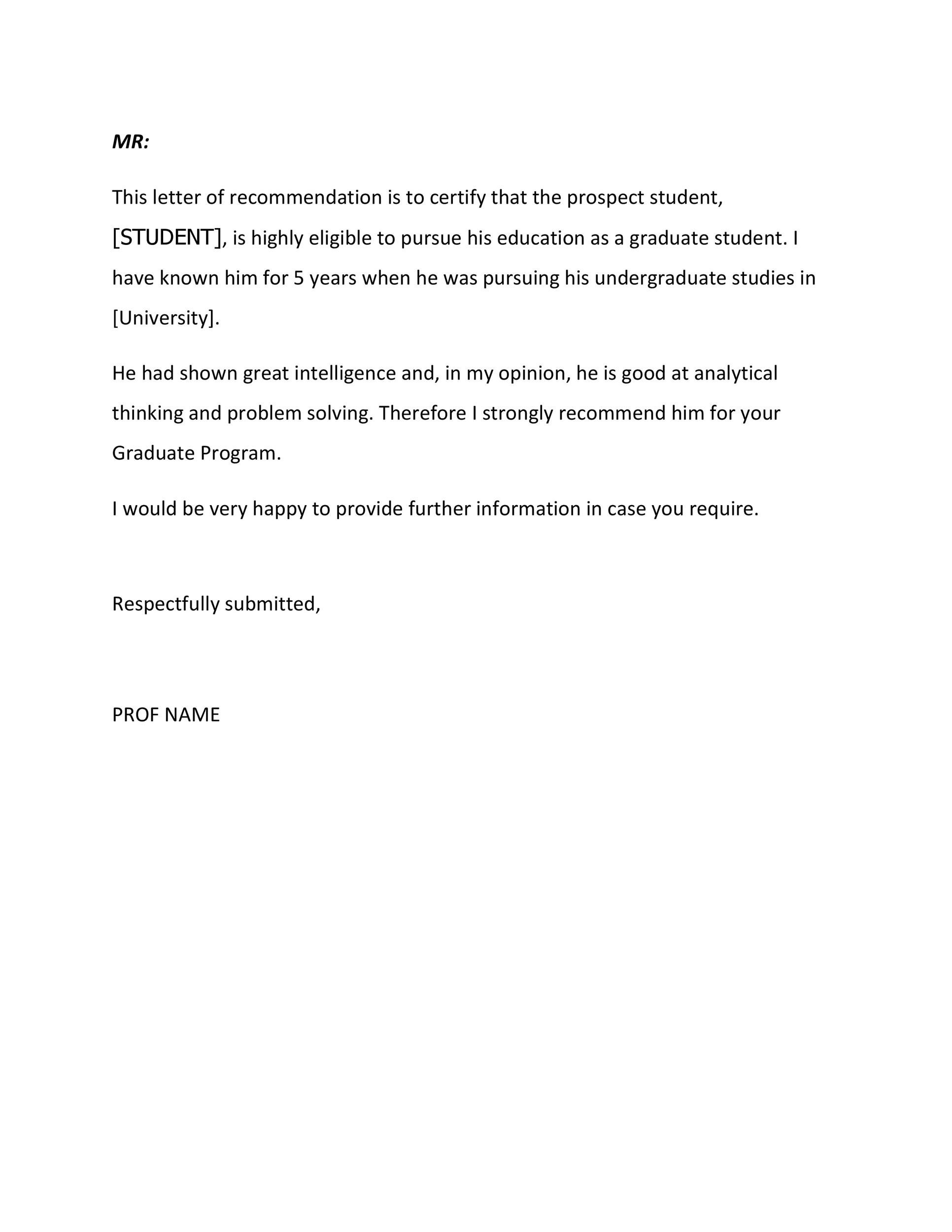 Free Recommendation Letter From Teacher Template 32