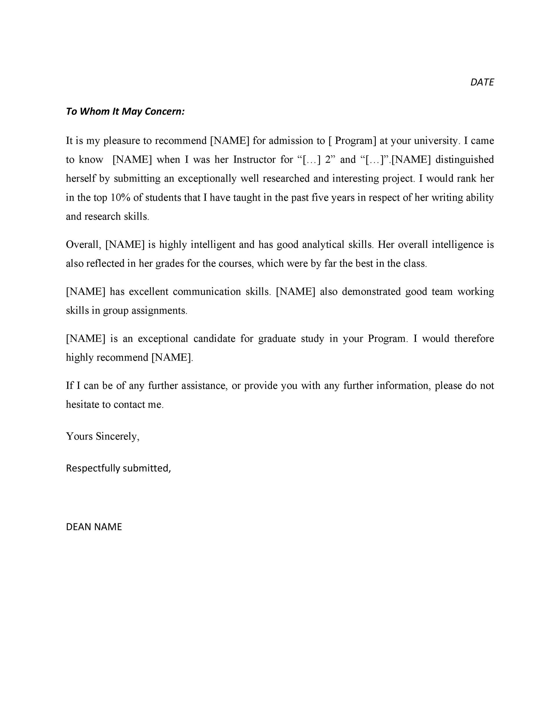 Free Recommendation Letter From Teacher Template 34