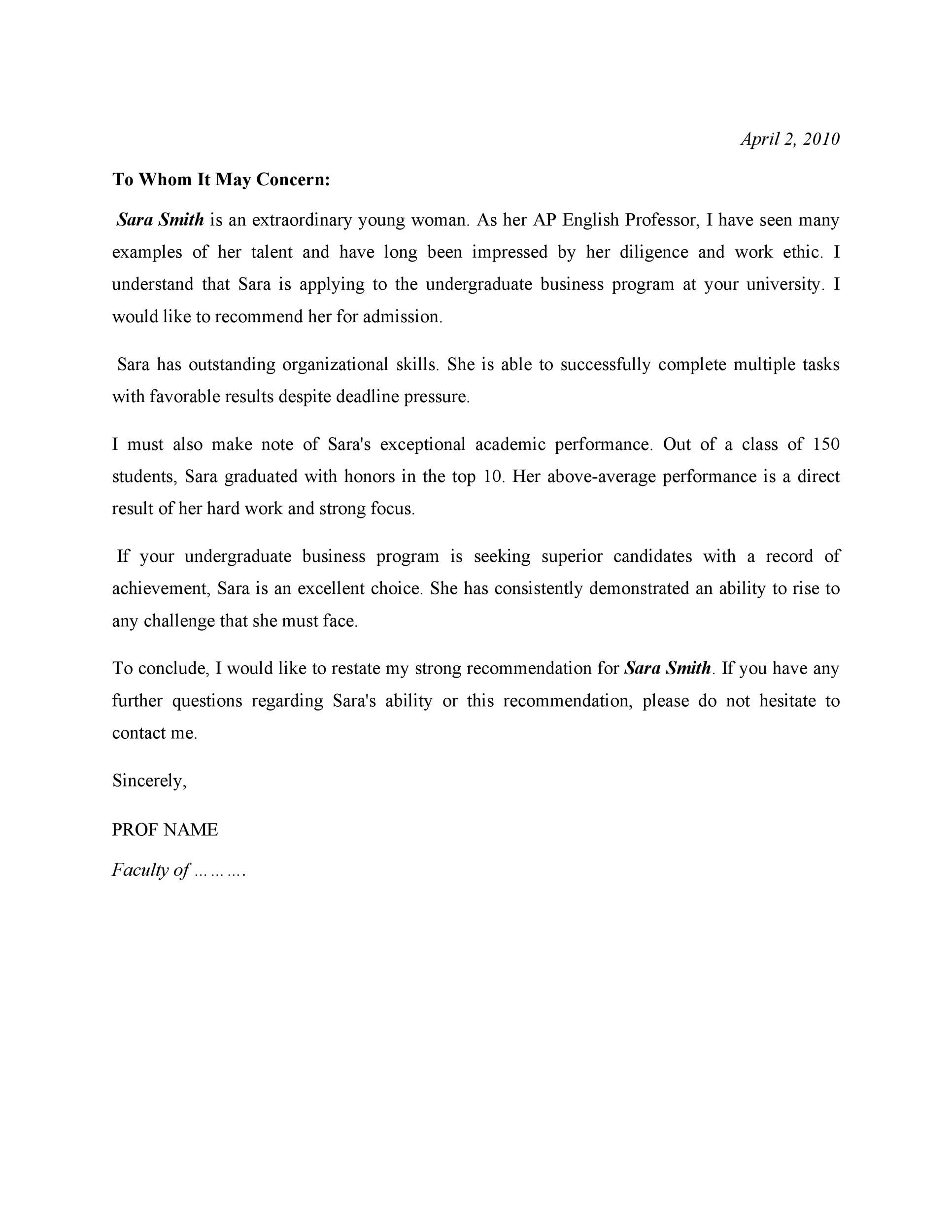 Free Recommendation Letter From Teacher Template 37