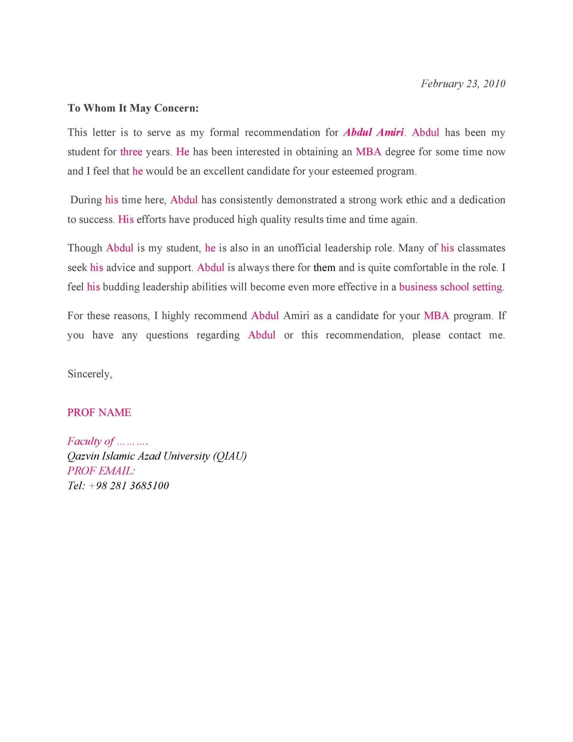 Free Recommendation Letter From Teacher Template 38