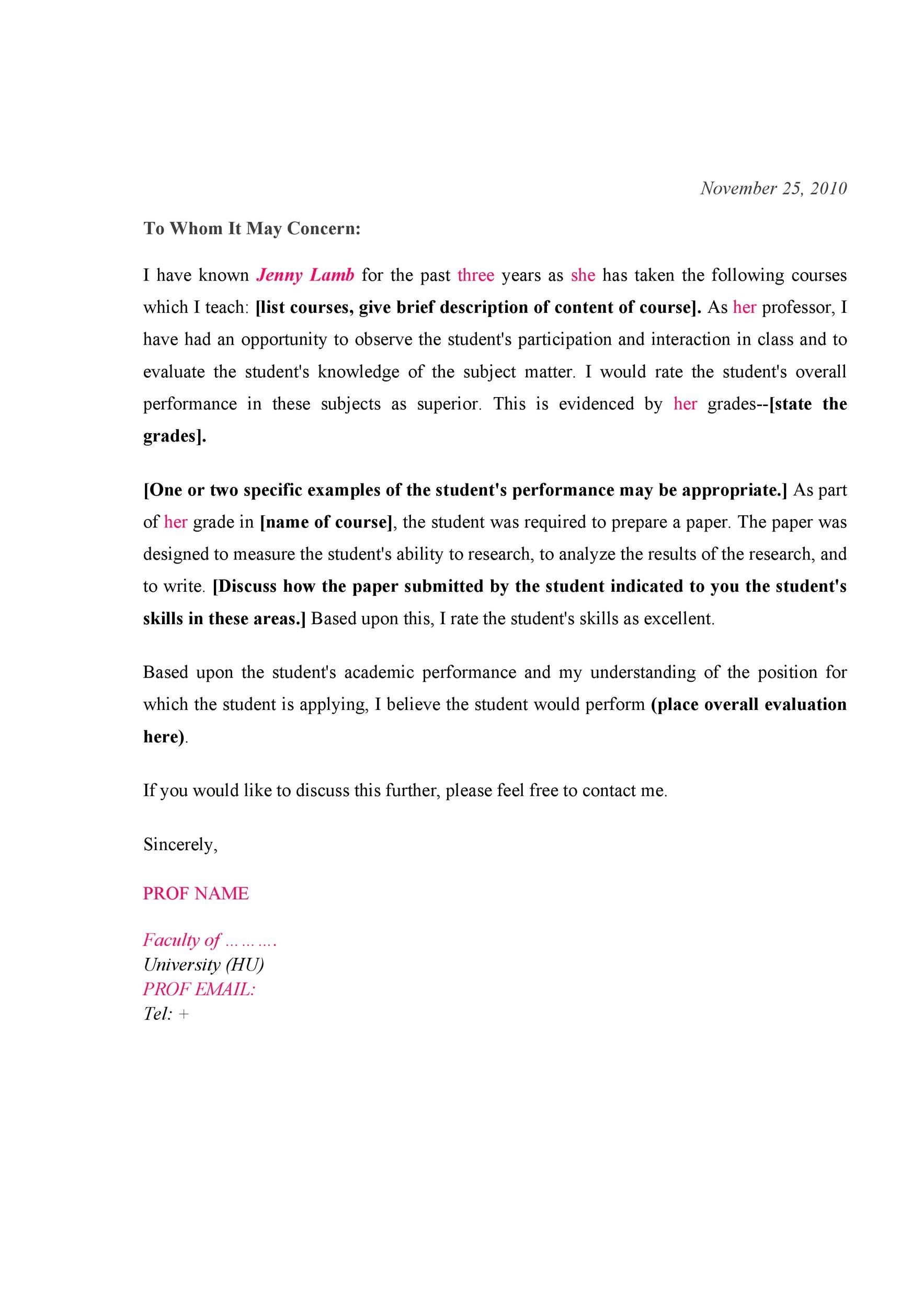 Free Recommendation Letter From Teacher Template 39