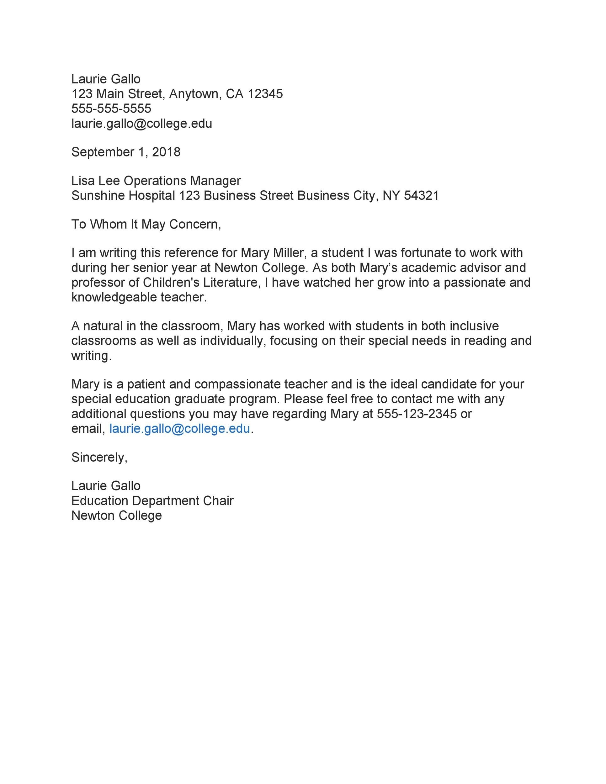 Free Recommendation Letter From Teacher Template 41
