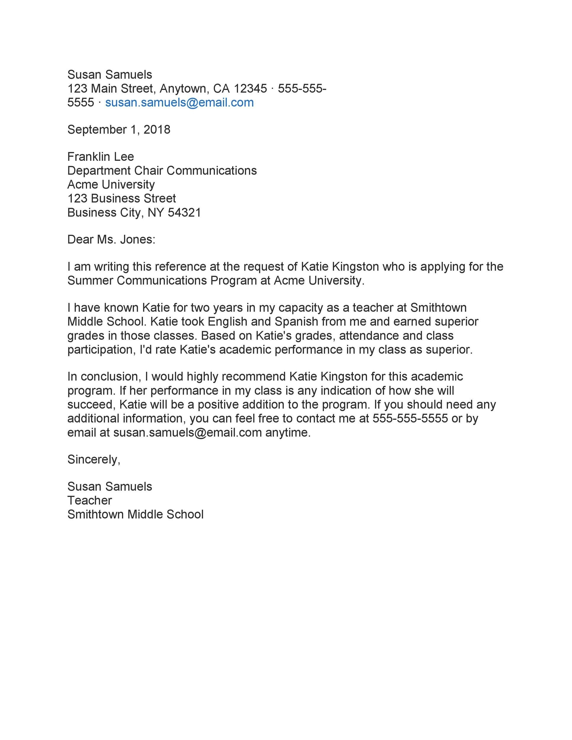 Free Recommendation Letter From Teacher Template 42