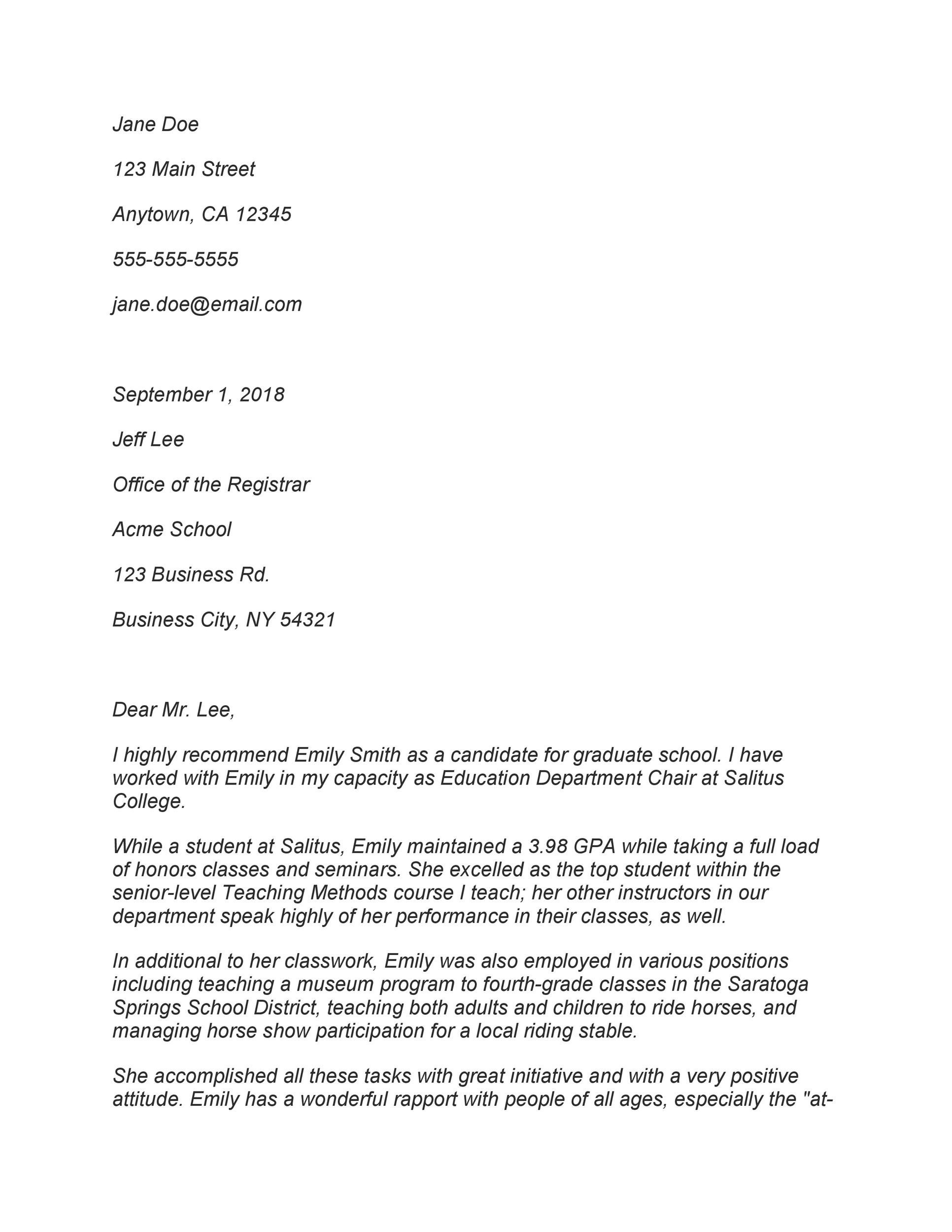 Free Recommendation Letter From Teacher Template 43