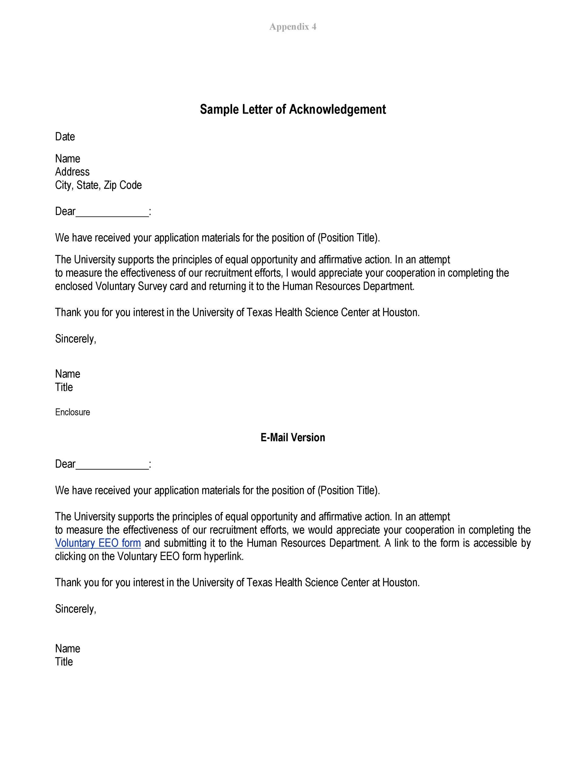 Free acknowledgement sample 07