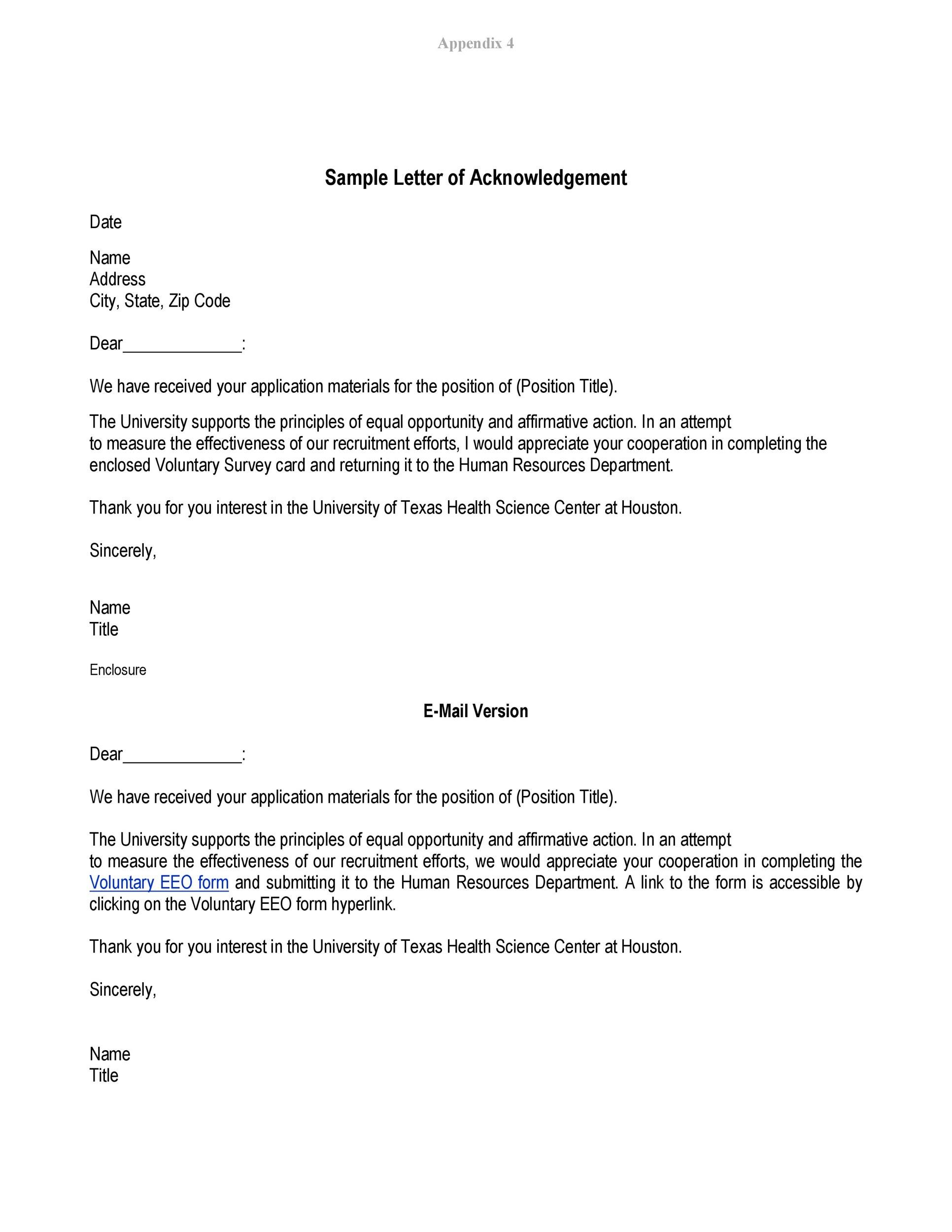 Free acknowledgement sample 07