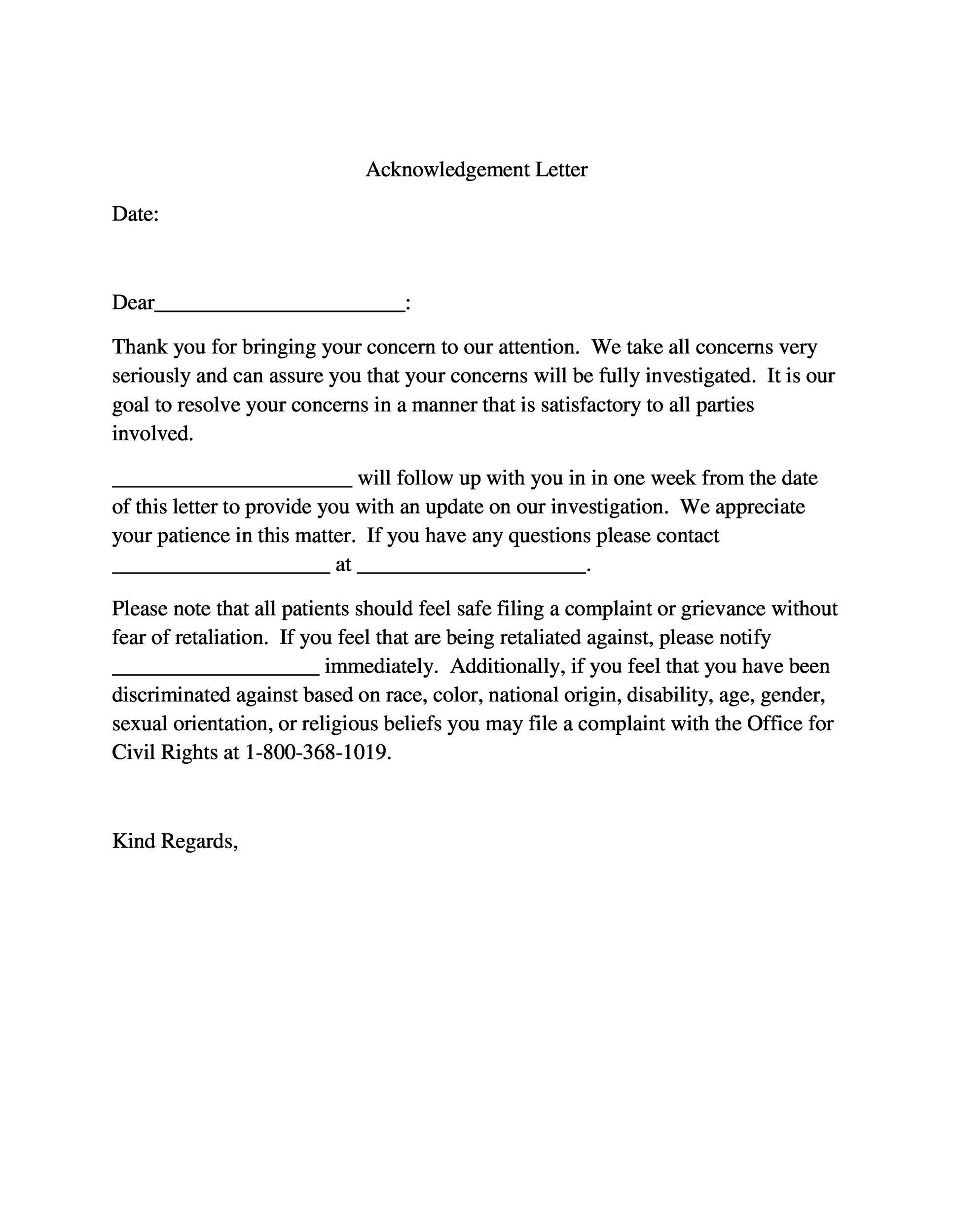 Free acknowledgement sample 17