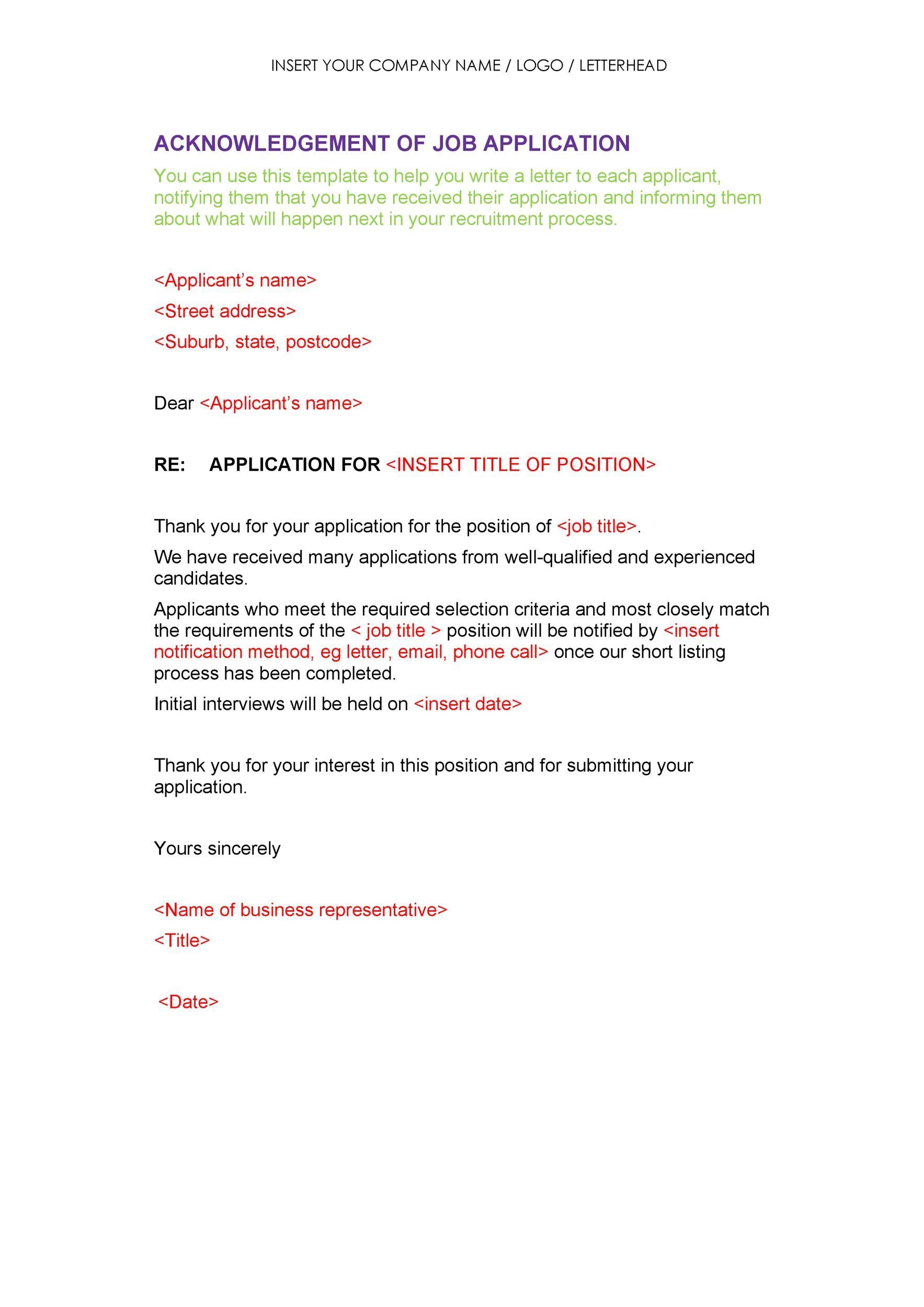 Free acknowledgement sample 18