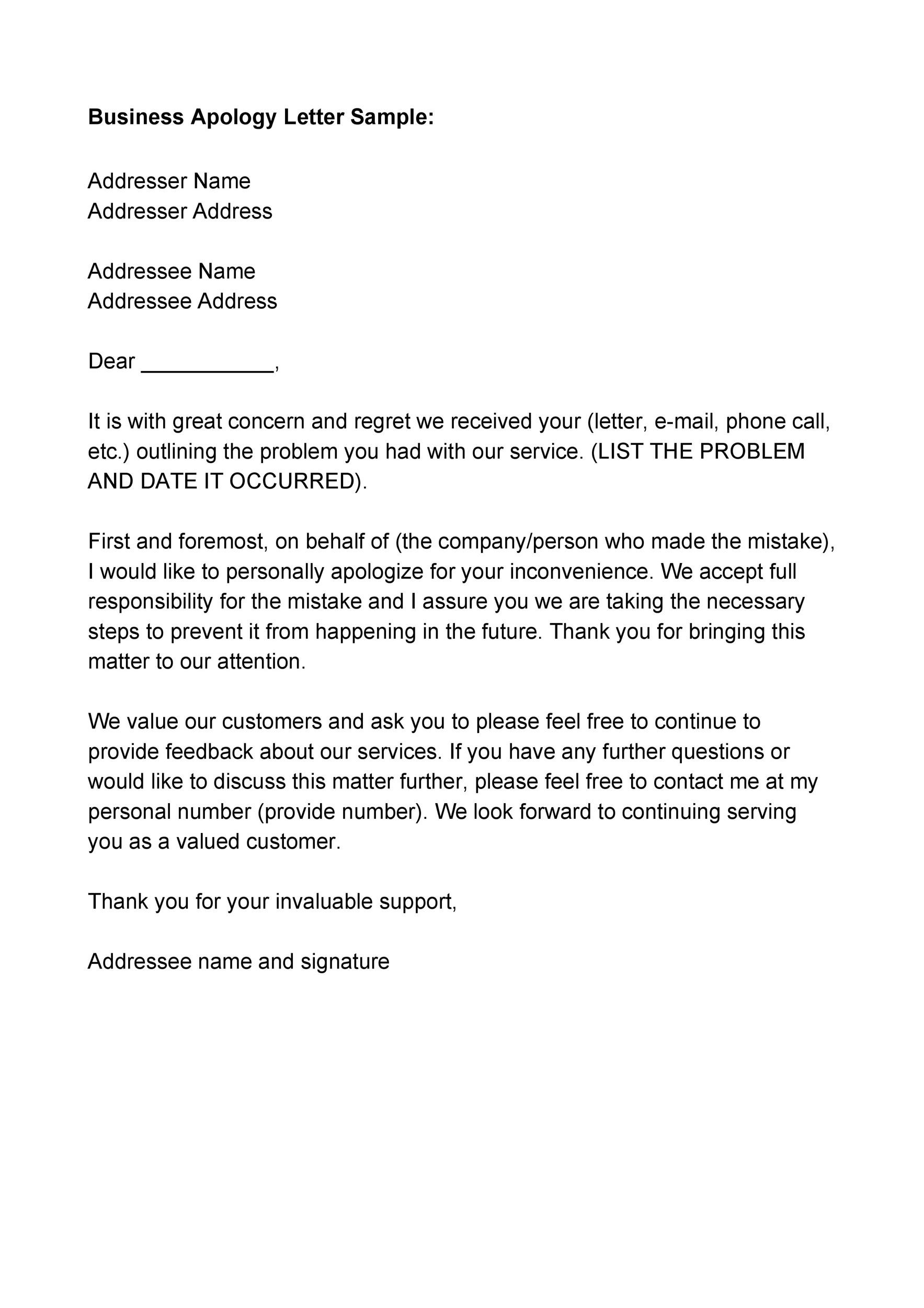 Apologize Letter To Customer from templatelab.com