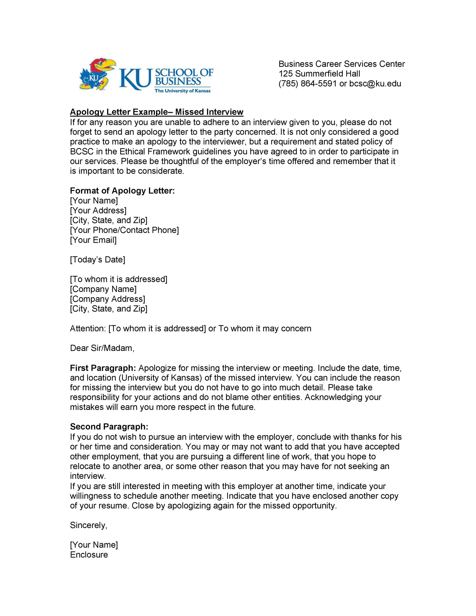 Letter Of Apology For Missing An Appointment from templatelab.com