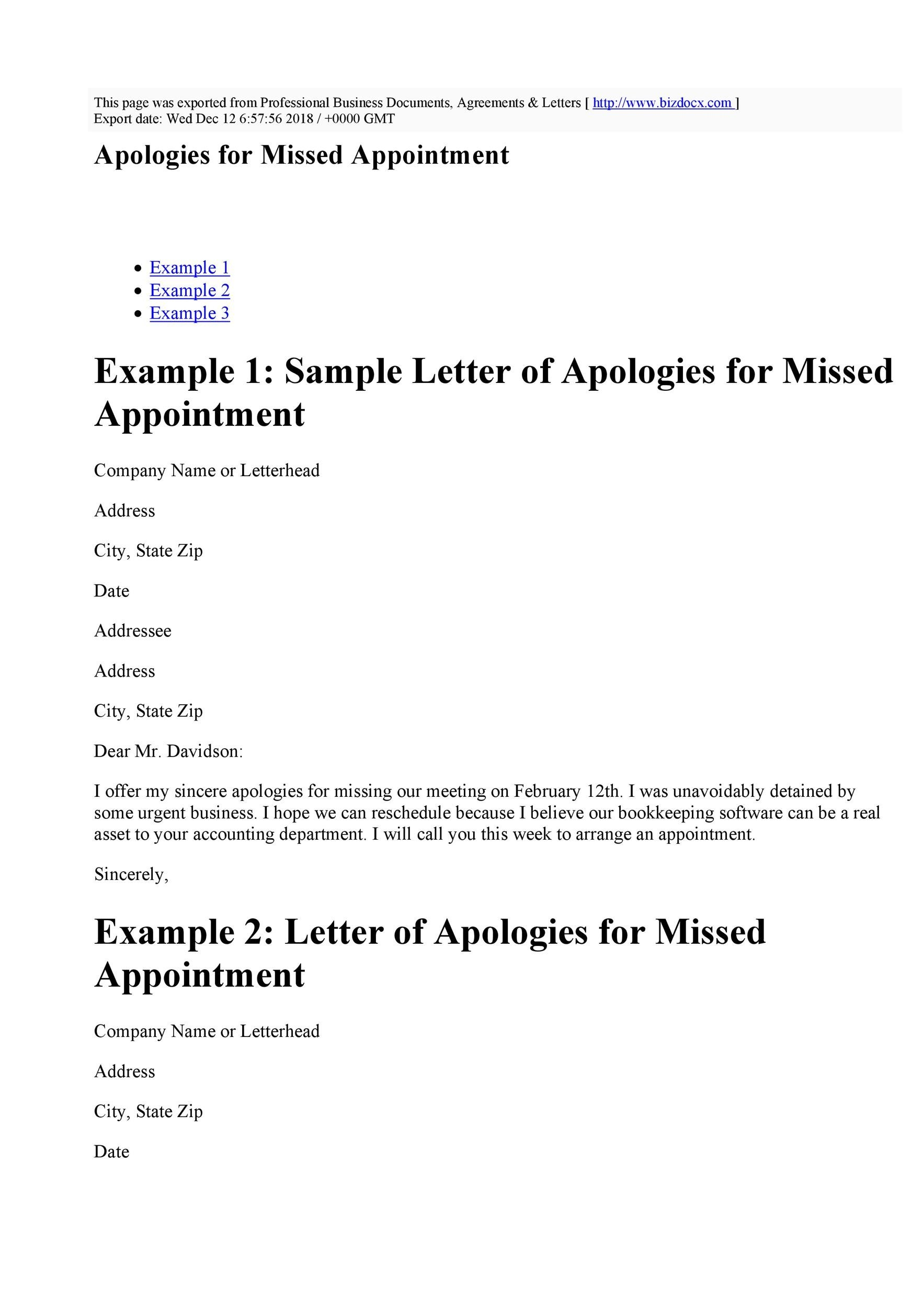 Free apology letter 50