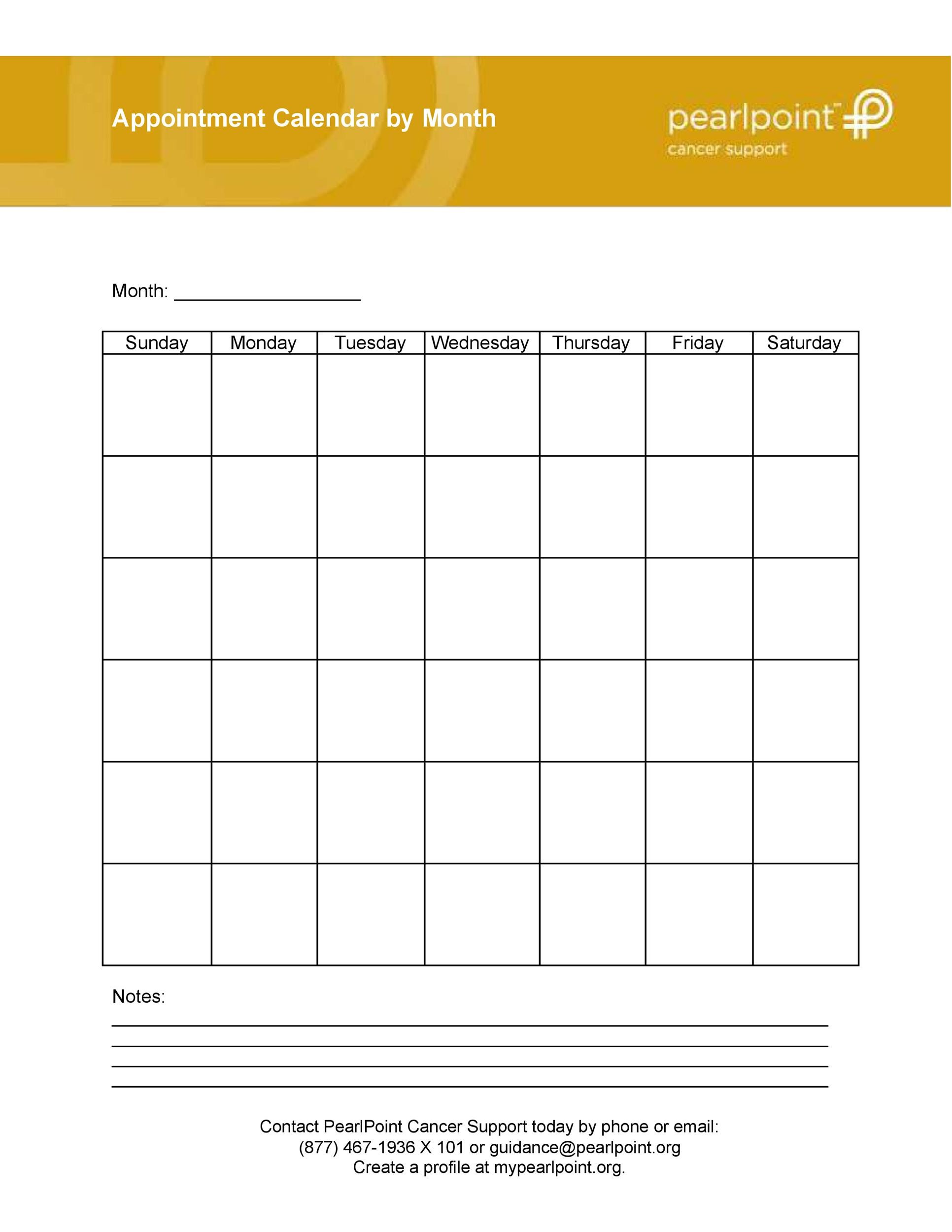 photo regarding Appointment Calendars Printable named 45 Printable Appointment Plan Templates [ Appointment