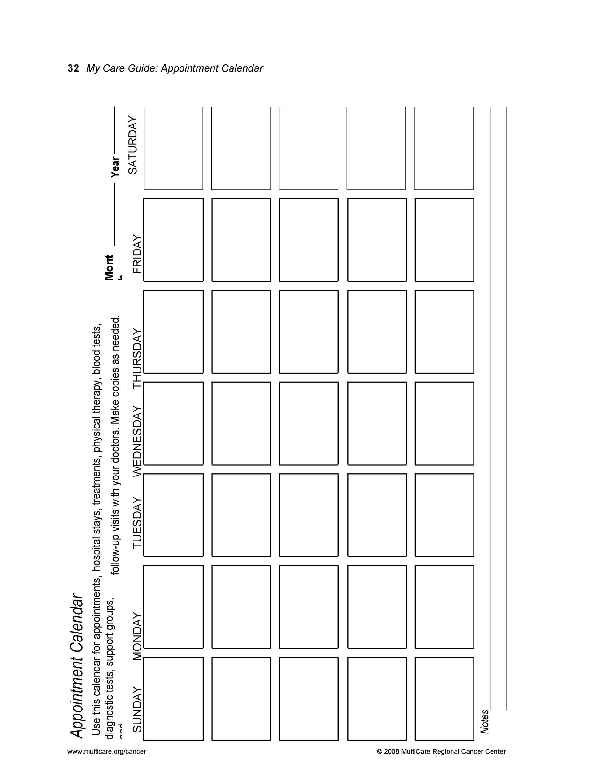 45 printable appointment schedule templates   u0026 appointment calendars