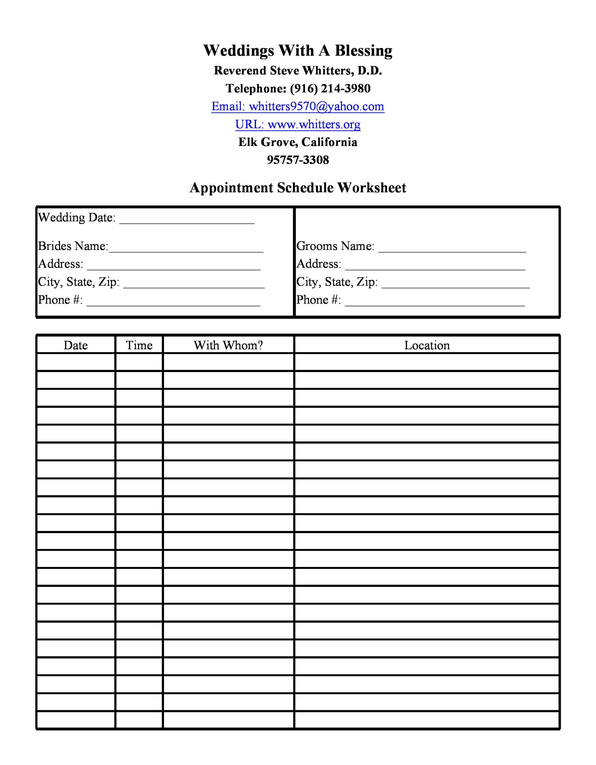 Free appointment schedule template 08