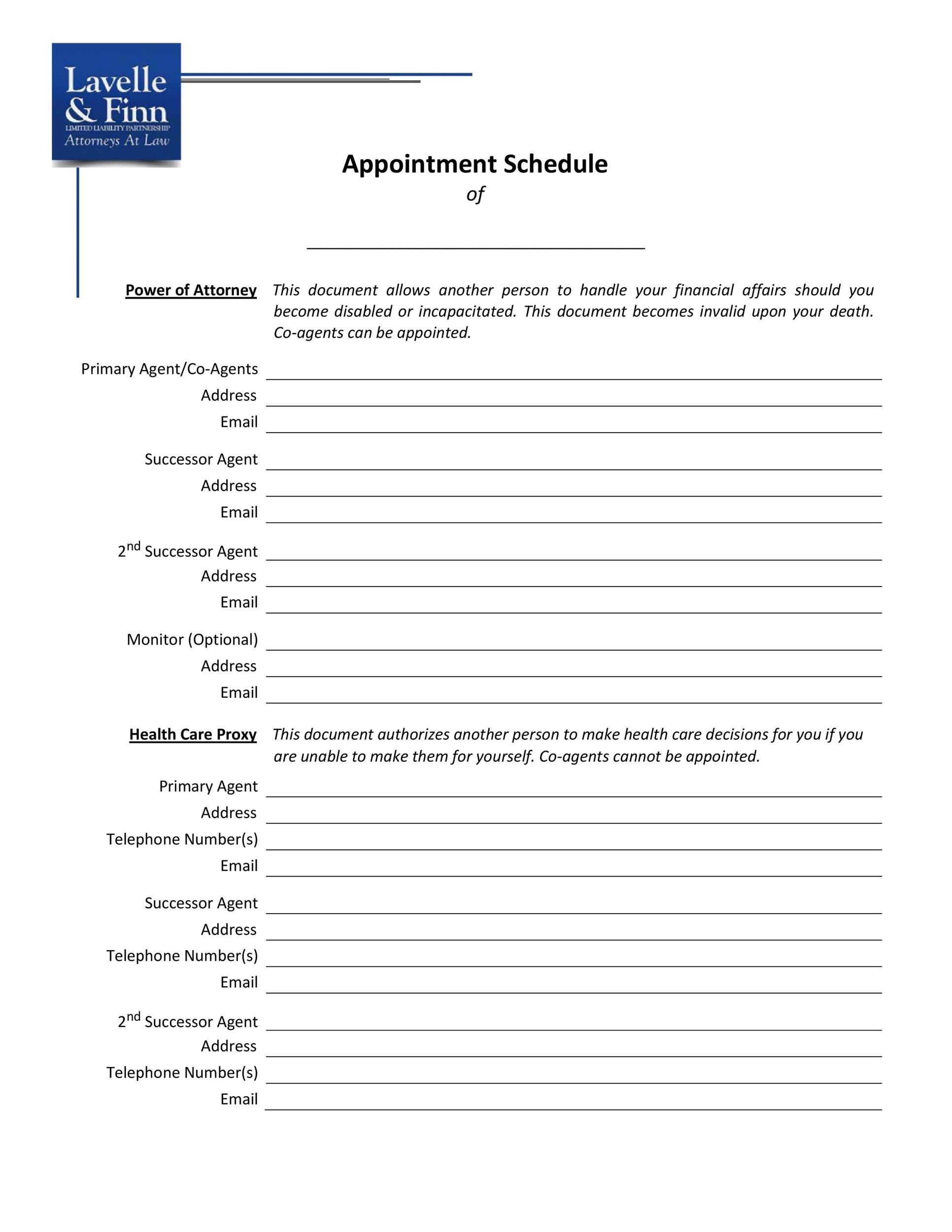 Free appointment schedule template 09
