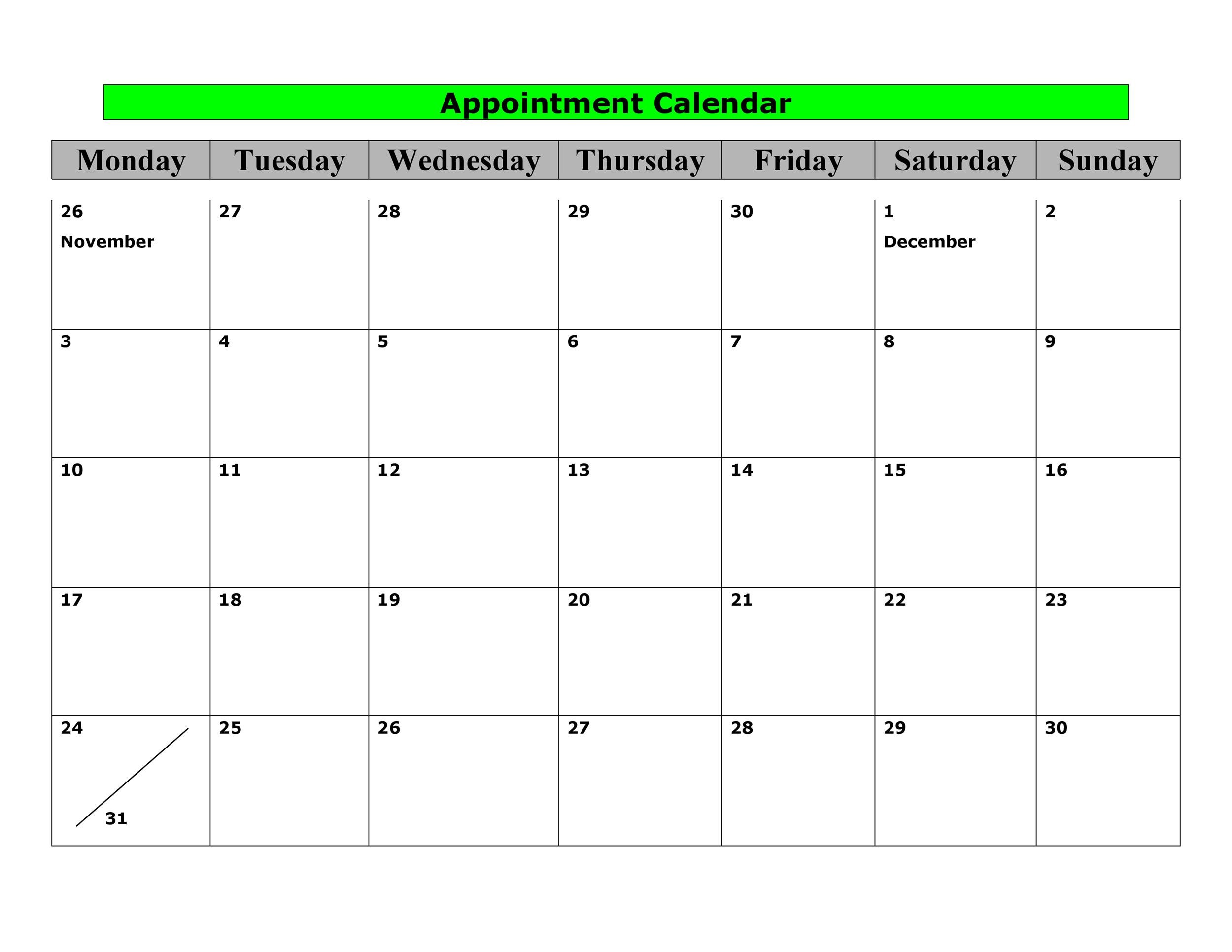 photo regarding Printable Appointment Calendar called 45 Printable Appointment Agenda Templates [ Appointment