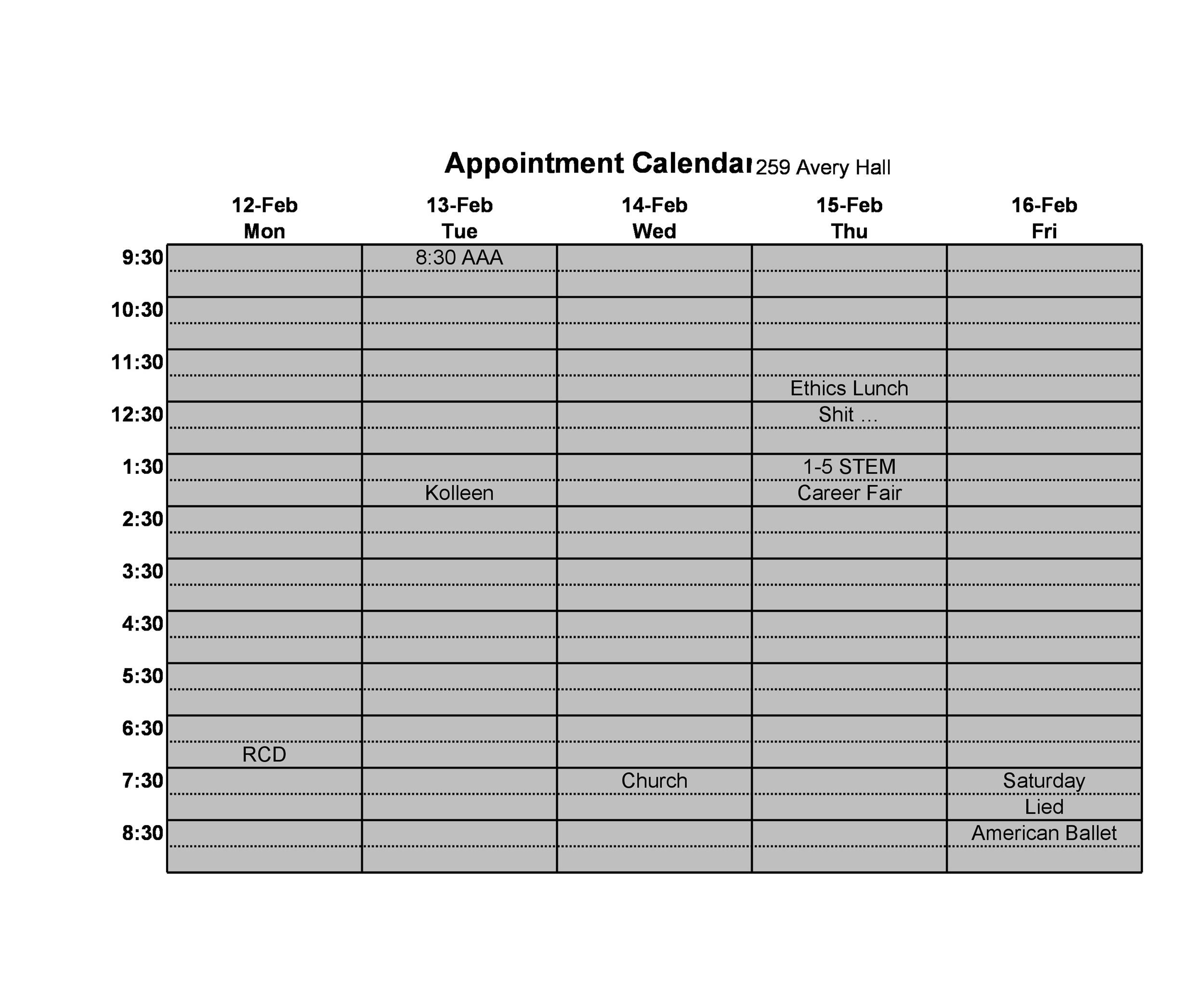 Free appointment schedule template 14