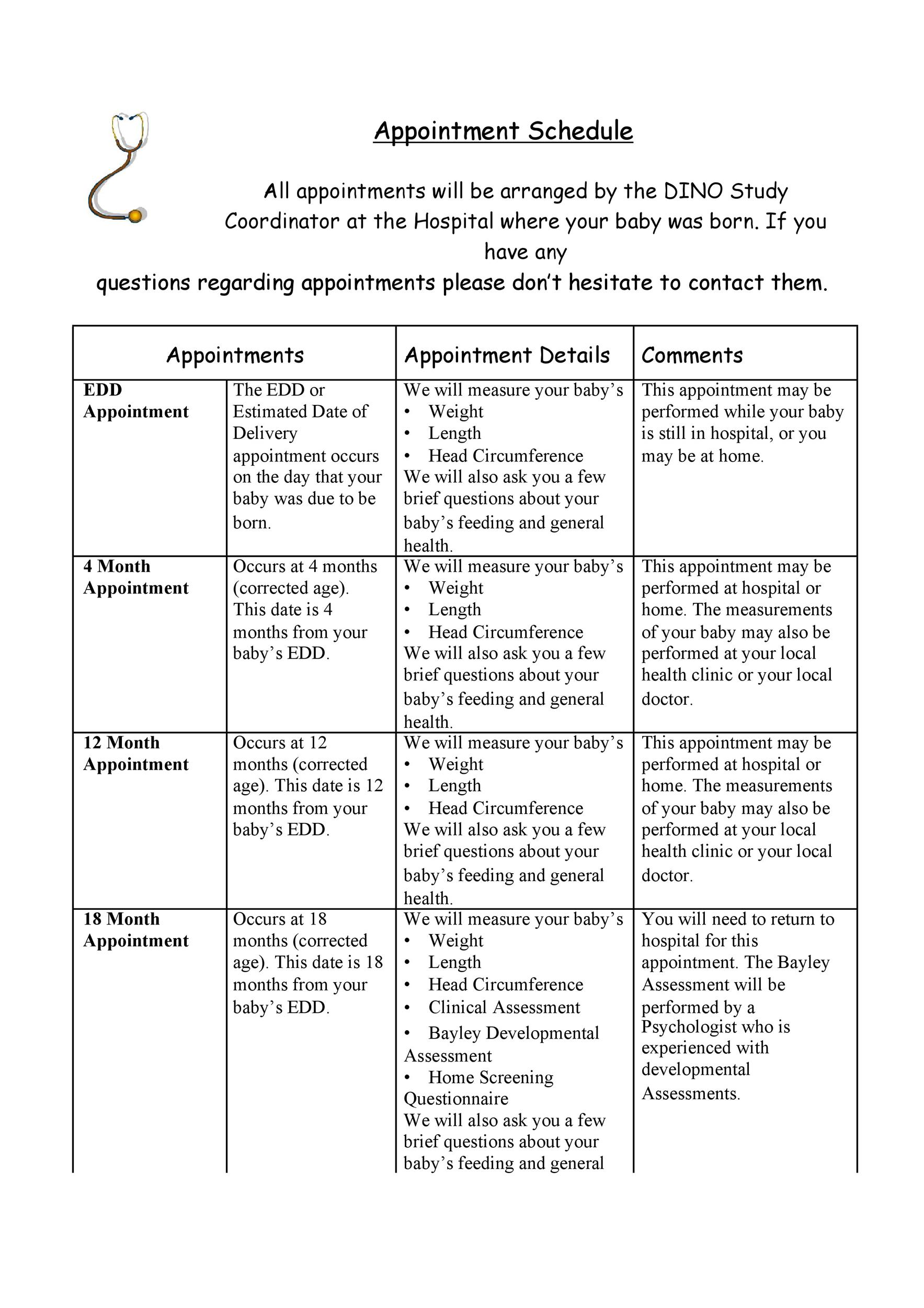 Free appointment schedule template 16