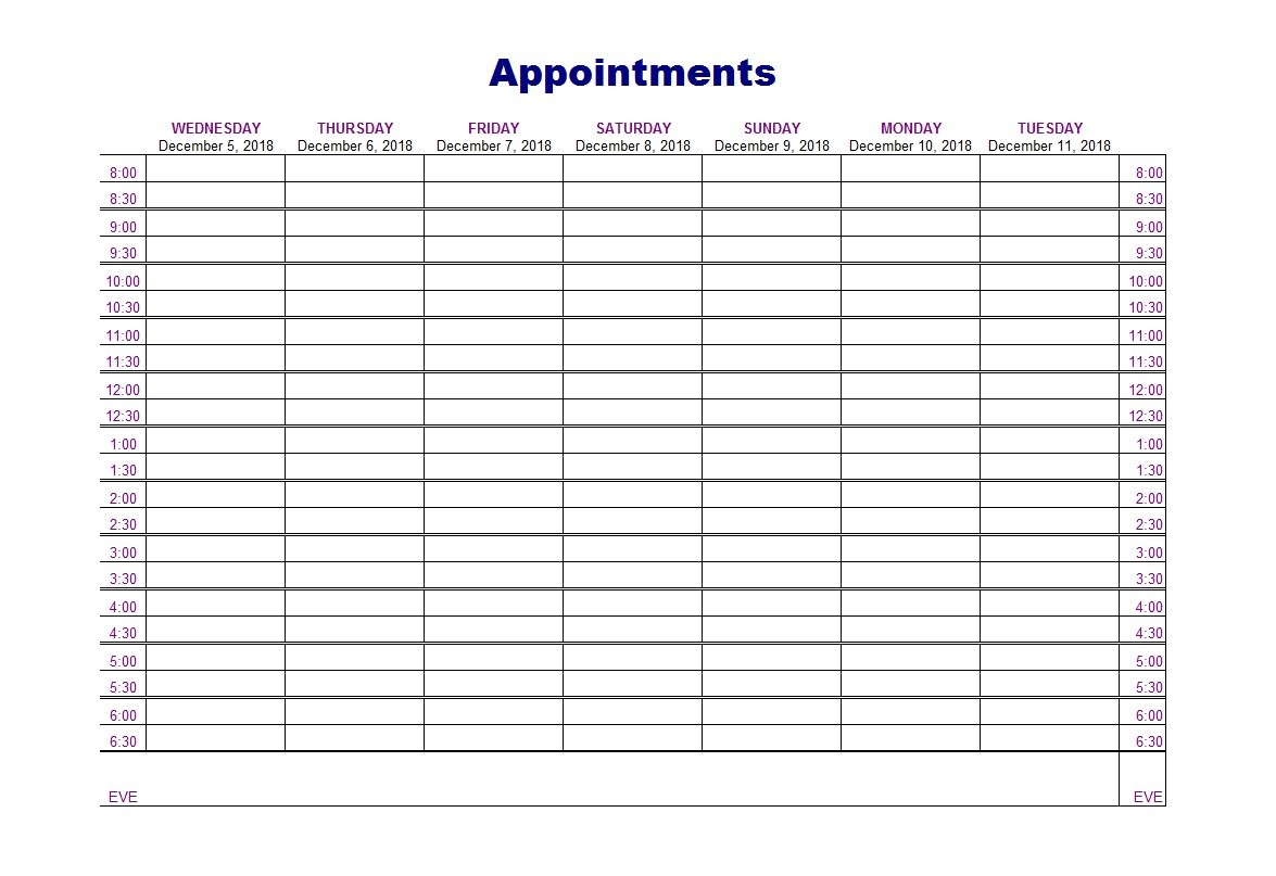 graphic about Printable Appointment Sheets titled 45 Printable Appointment Plan Templates [ Appointment