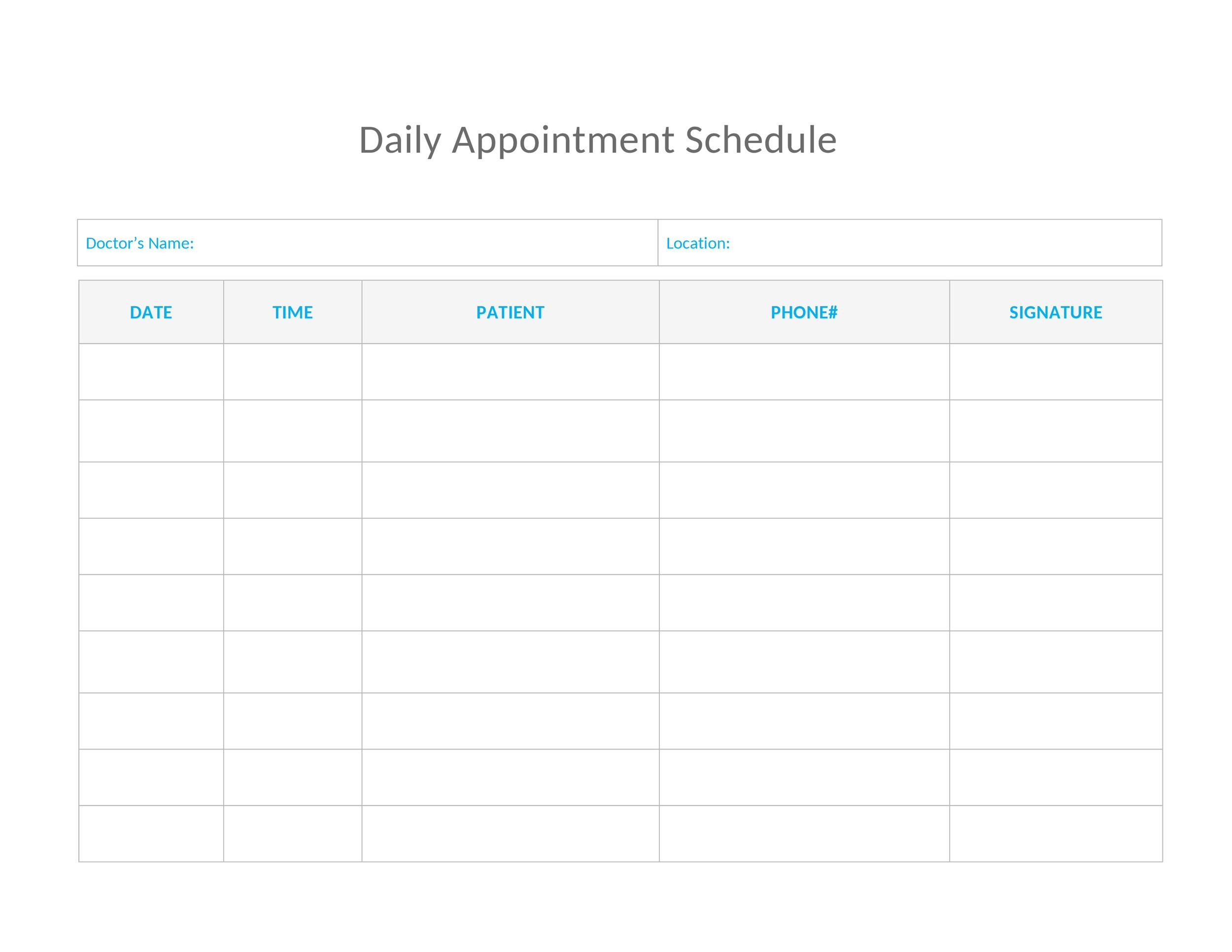 Free appointment schedule template 24