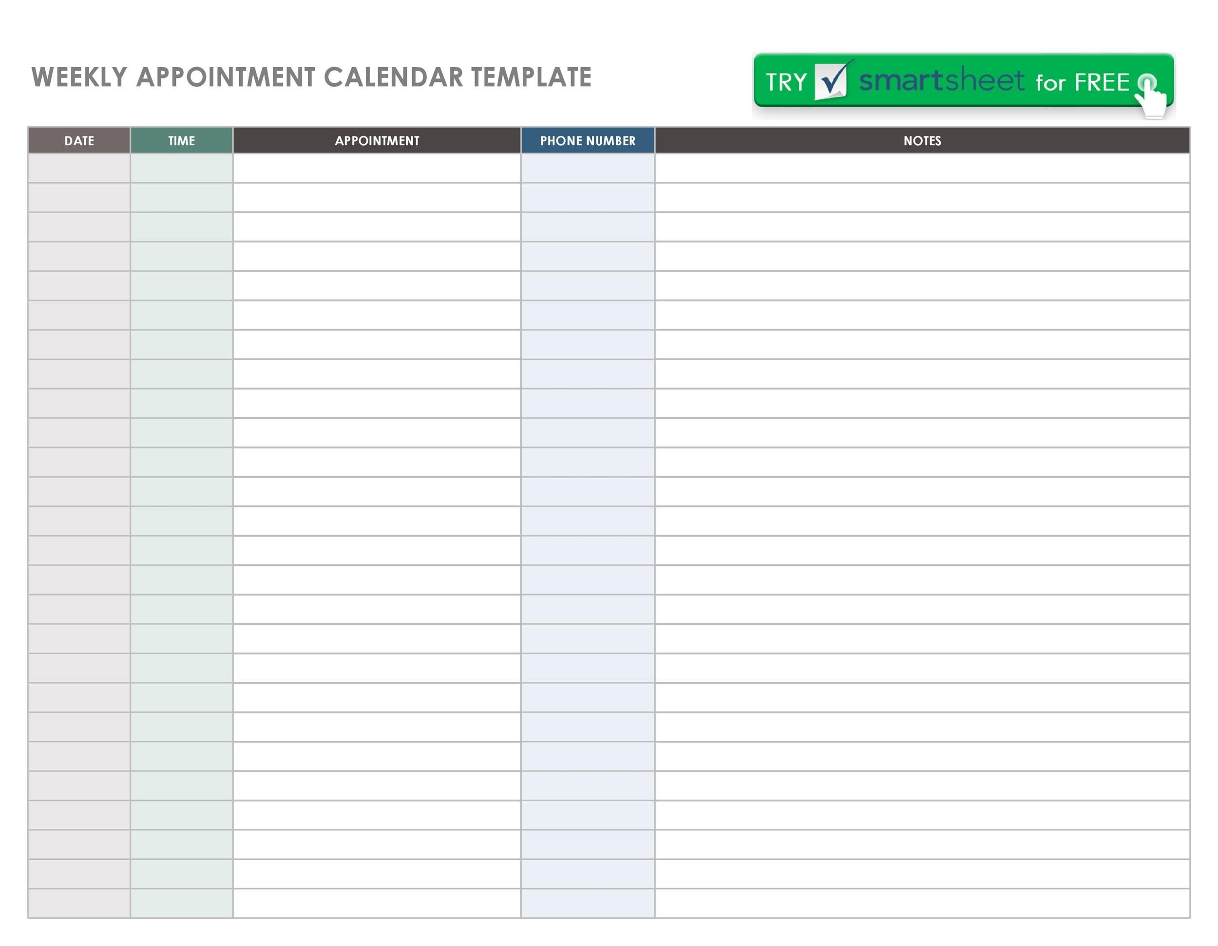 45 Printable Appointment Schedule Templates Appointment Calendars