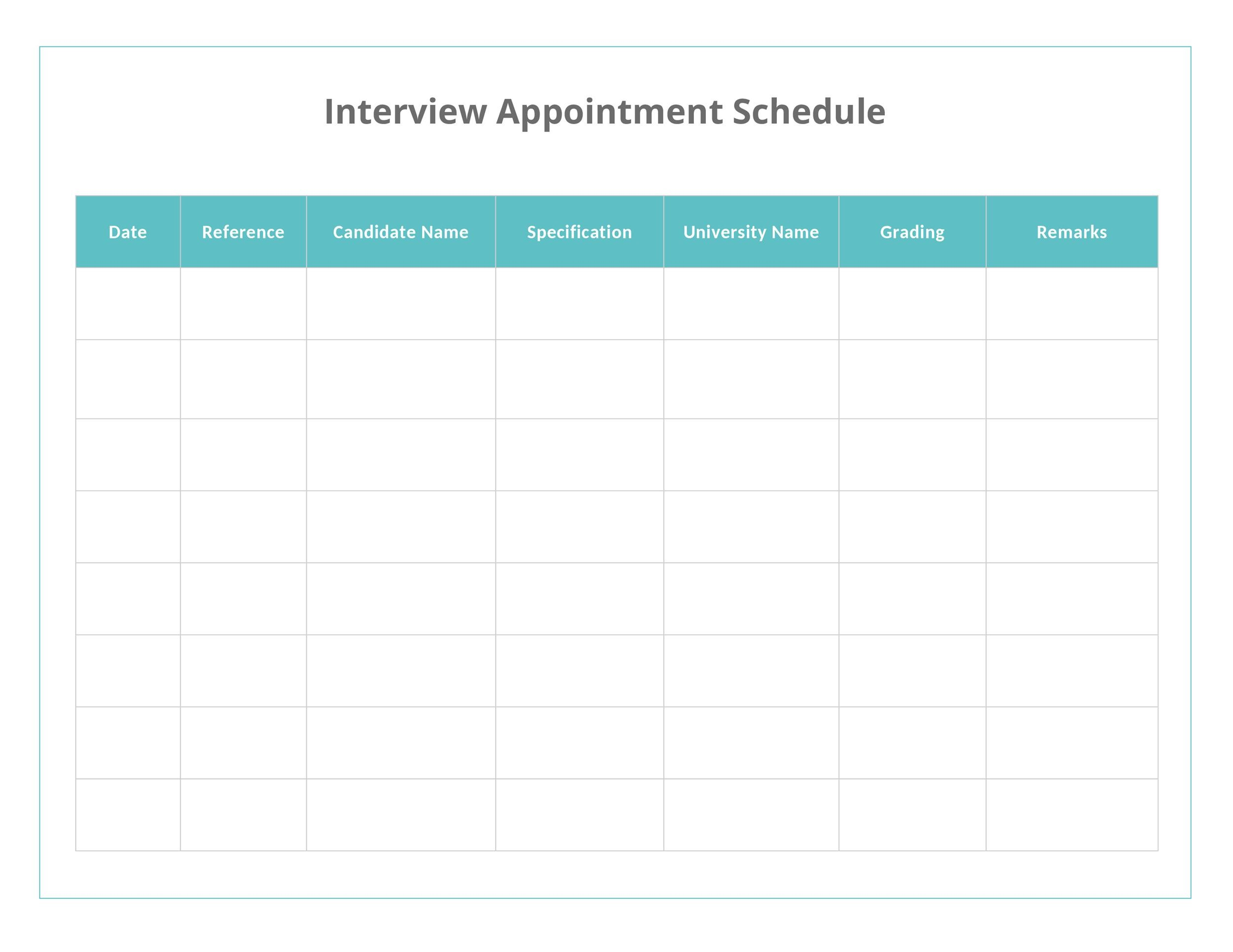 Free appointment schedule template 45