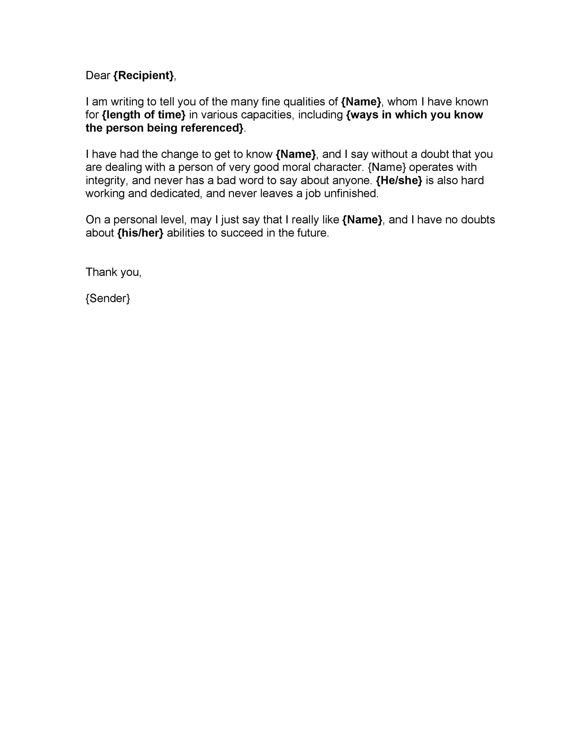 Free character witness letter 05