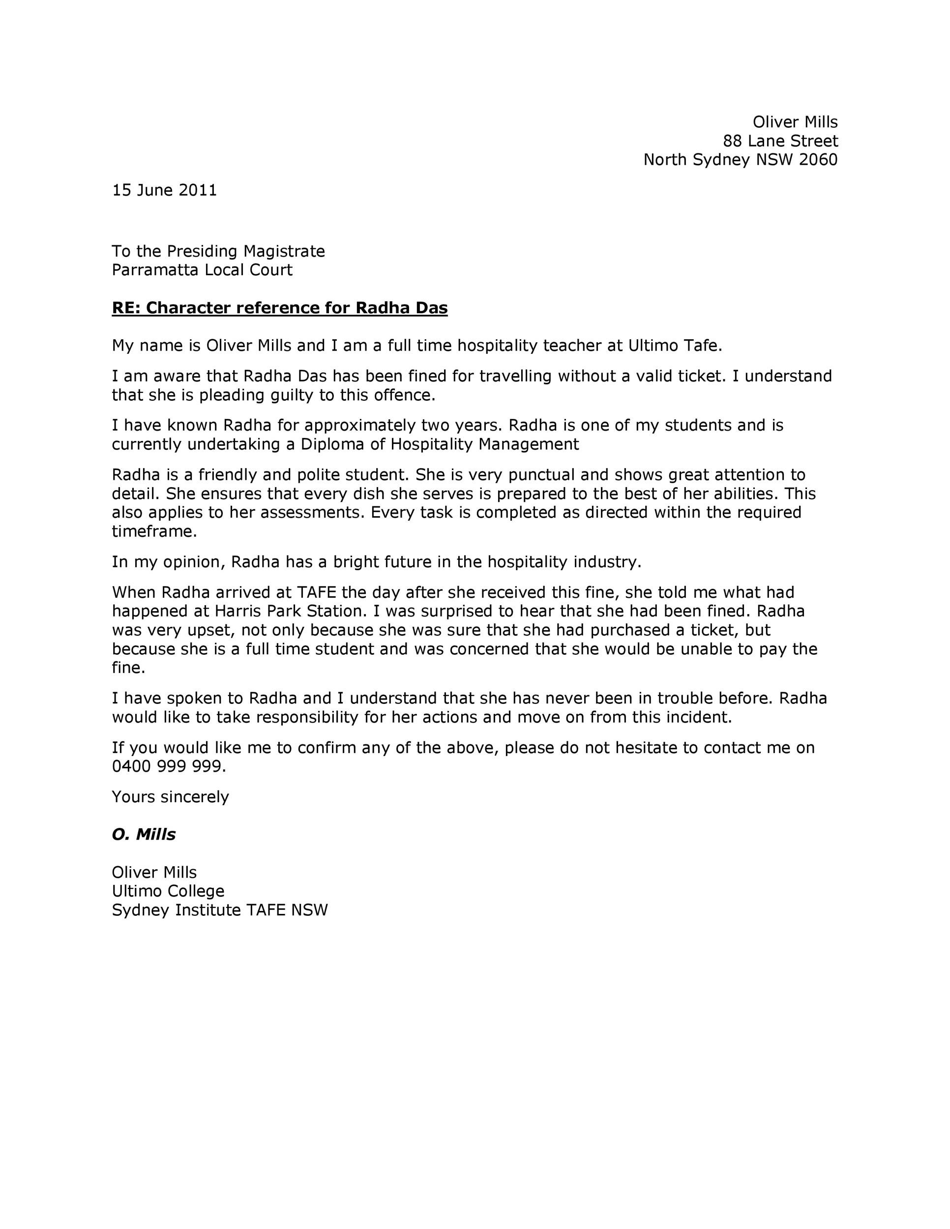 Free character witness letter 12
