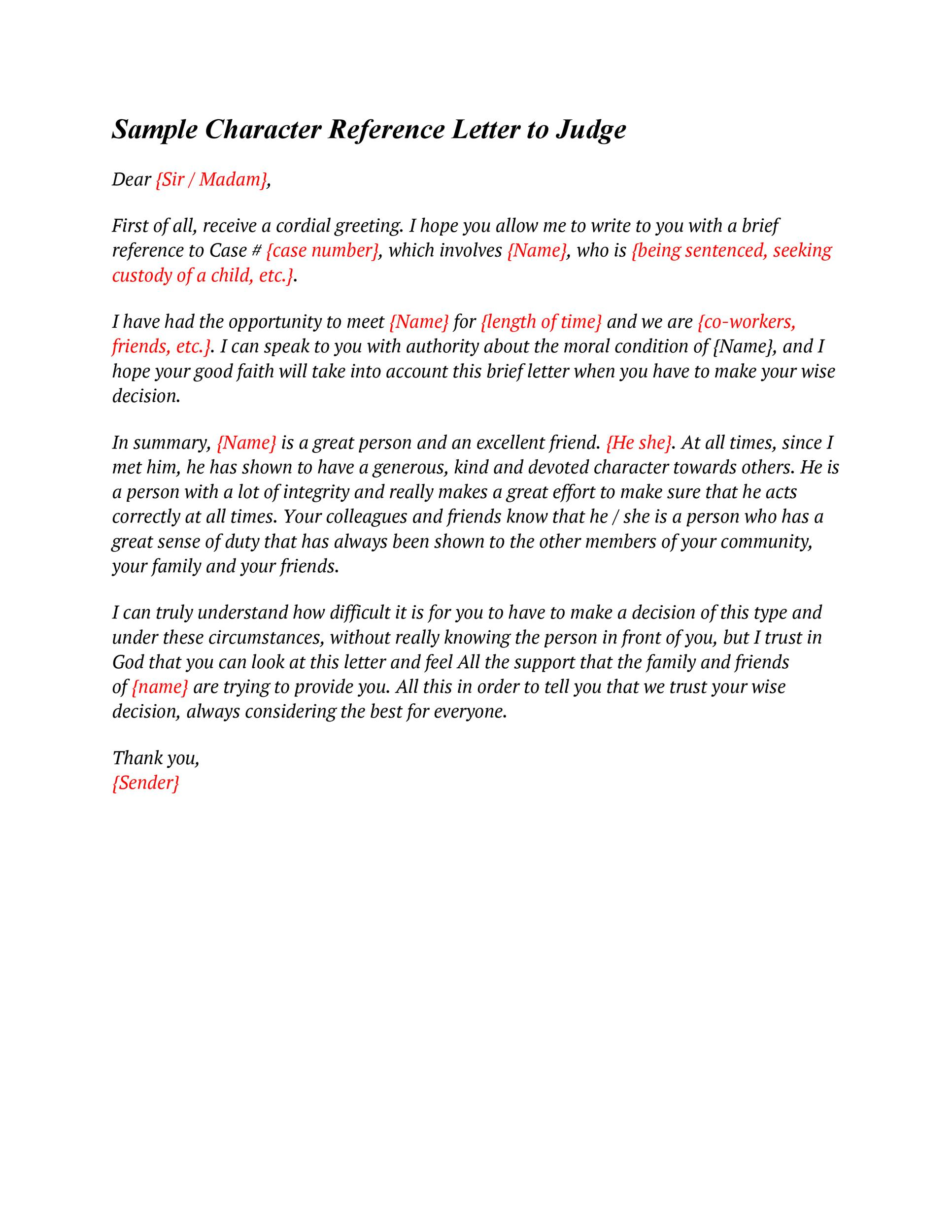 38 free character witness letters  examples   tips   u1405
