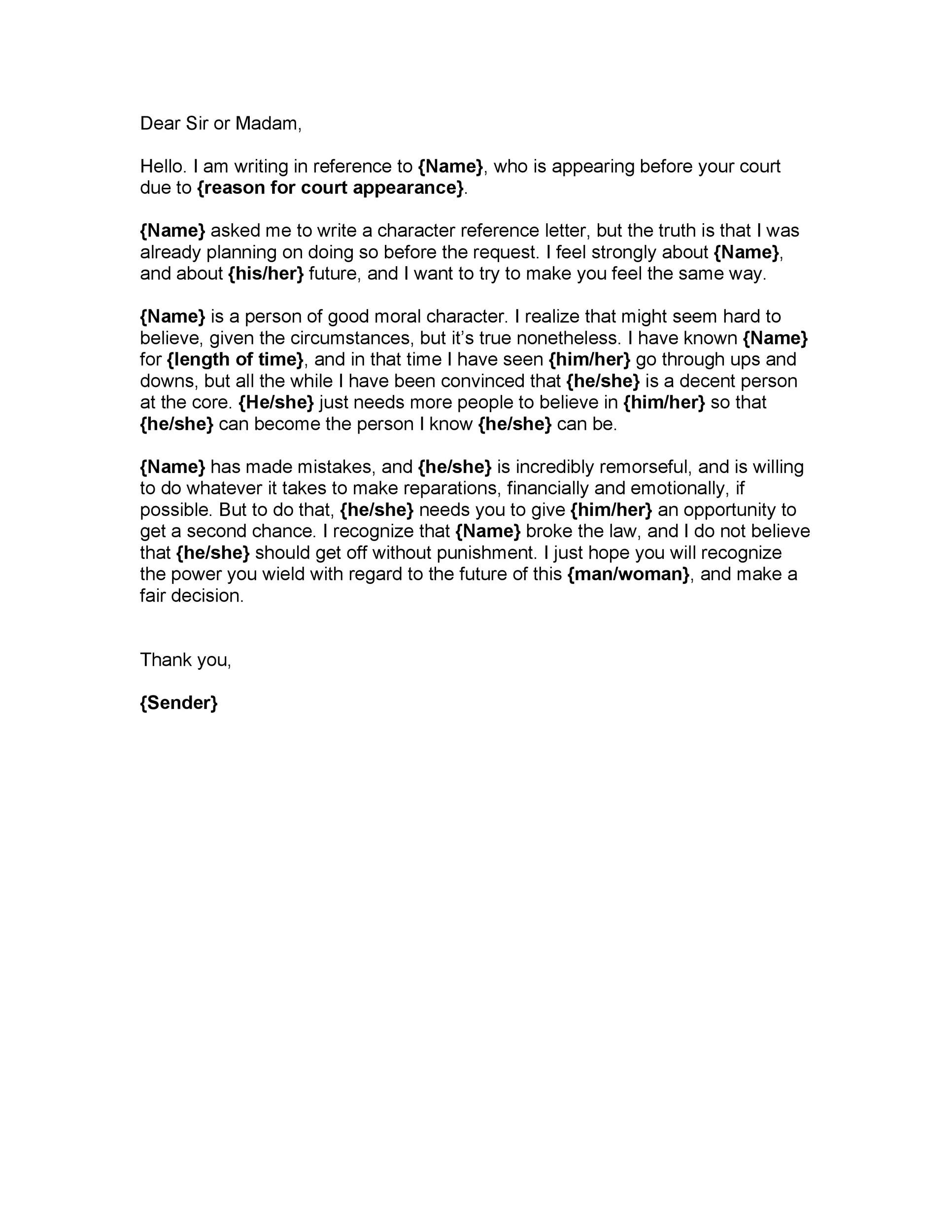 Sample Letter Of Good Moral Character For Court from templatelab.com